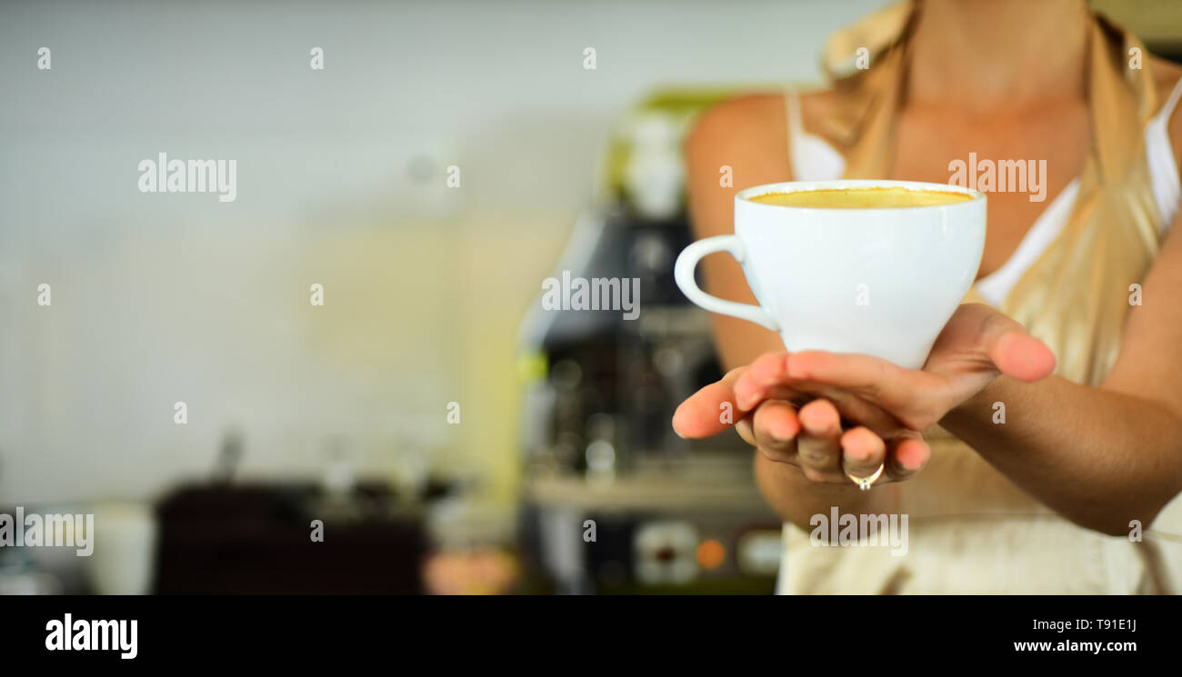Nice morning. relax in cafe or coffee shop and drink. perfect morning with best coffee.fresh morning coffee with milk and cream froth. barista propose - Stock Image