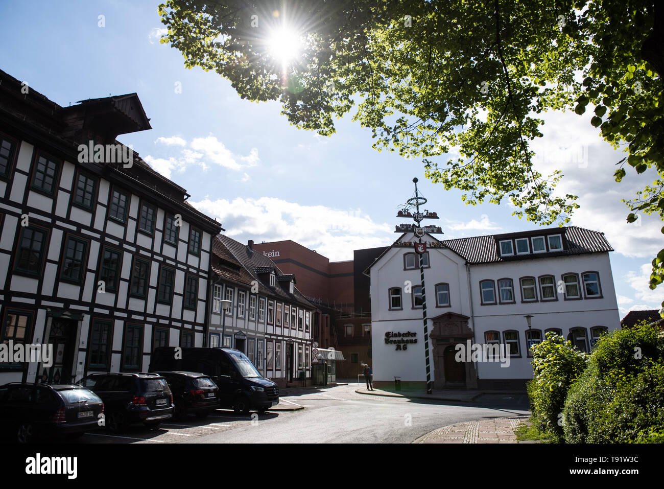 Einbeck, Germany. 14th May, 2019. The sun shines over the entrance to the Einbecker Brauhaus AG premises. The Einbecker Brauhaus is one of the most famous breweries in Germany. Credit: Swen Pförtner/dpa/Alamy Live News - Stock Image
