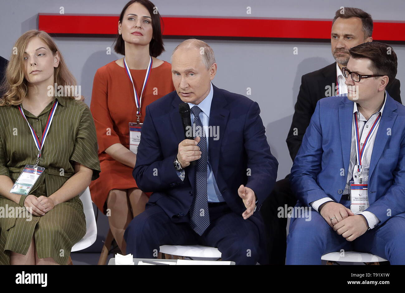 Sochi, Russia. 16th May, 2019. SOCHI, RUSSIA - MAY 16, 2019: Russia's President Vladimir Putin (C) attends the plenary meeting at the Independent Local and Regional Media Forum held by the All-Russian People's Front. Mikhail Metzel/TASS Credit: ITAR-TASS News Agency/Alamy Live News Stock Photo