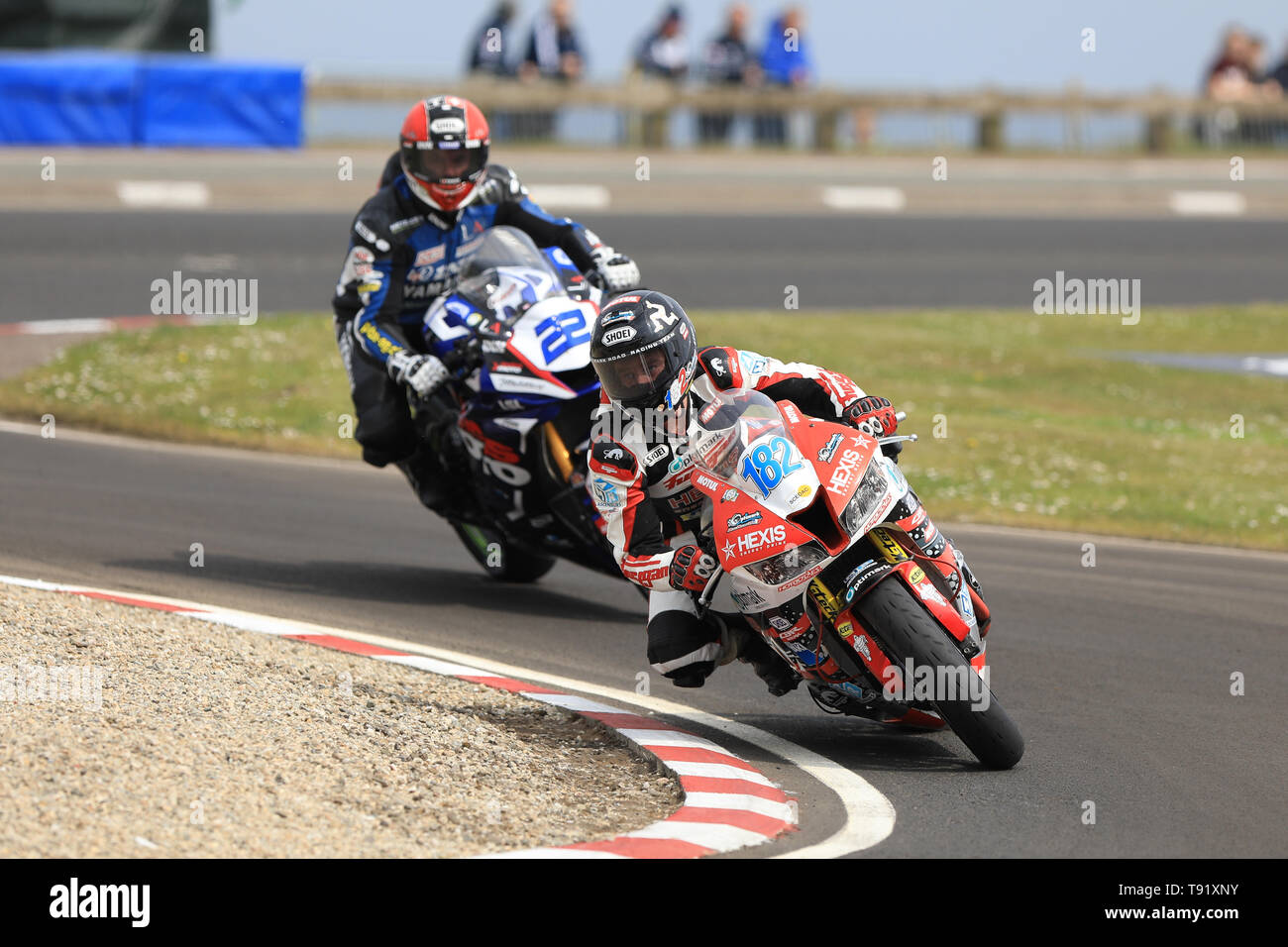 Portrush, Northern Ireland. 16th May, 2019. International North West 200 Motorcycle road racing, Thursday practice and evening racing; France's Denis Xavier on the Optimark Road Racing Team Honda and Leichtenstein's Horst Saiger on the Saiger Racing Yamaha during the SuperSport qualifying session Credit: Action Plus Sports/Alamy Live News - Stock Image