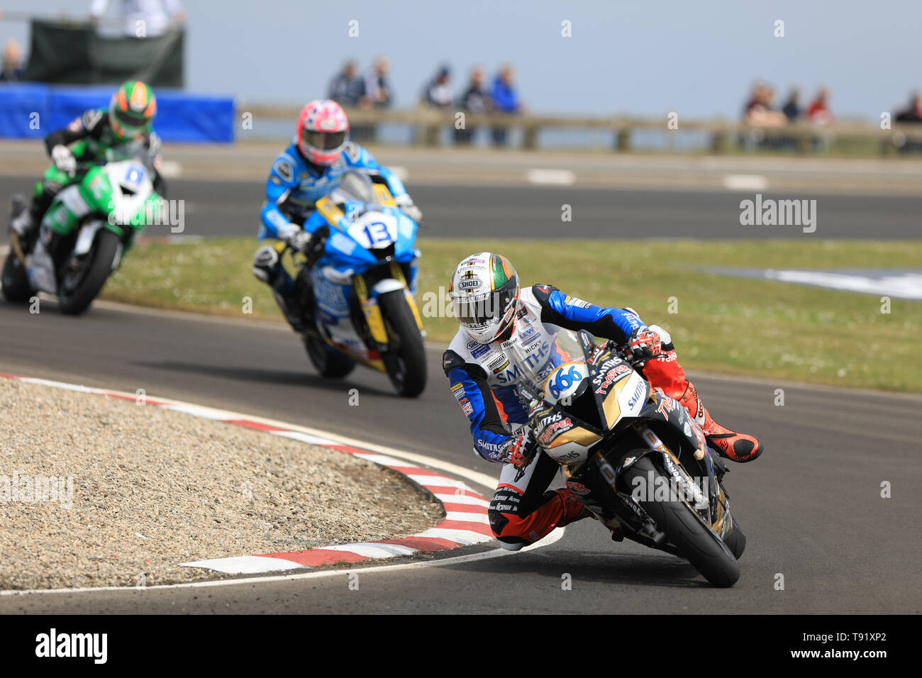 Portrush, Northern Ireland. 16th May, 2019. International North West 200 Motorcycle road racing, Thursday practice and evening racing; Peter Hickman goes 4th on the Trooper Beer By Smiths Racing Triumph during the SuperSport qualifying session Credit: Action Plus Sports/Alamy Live News - Stock Image
