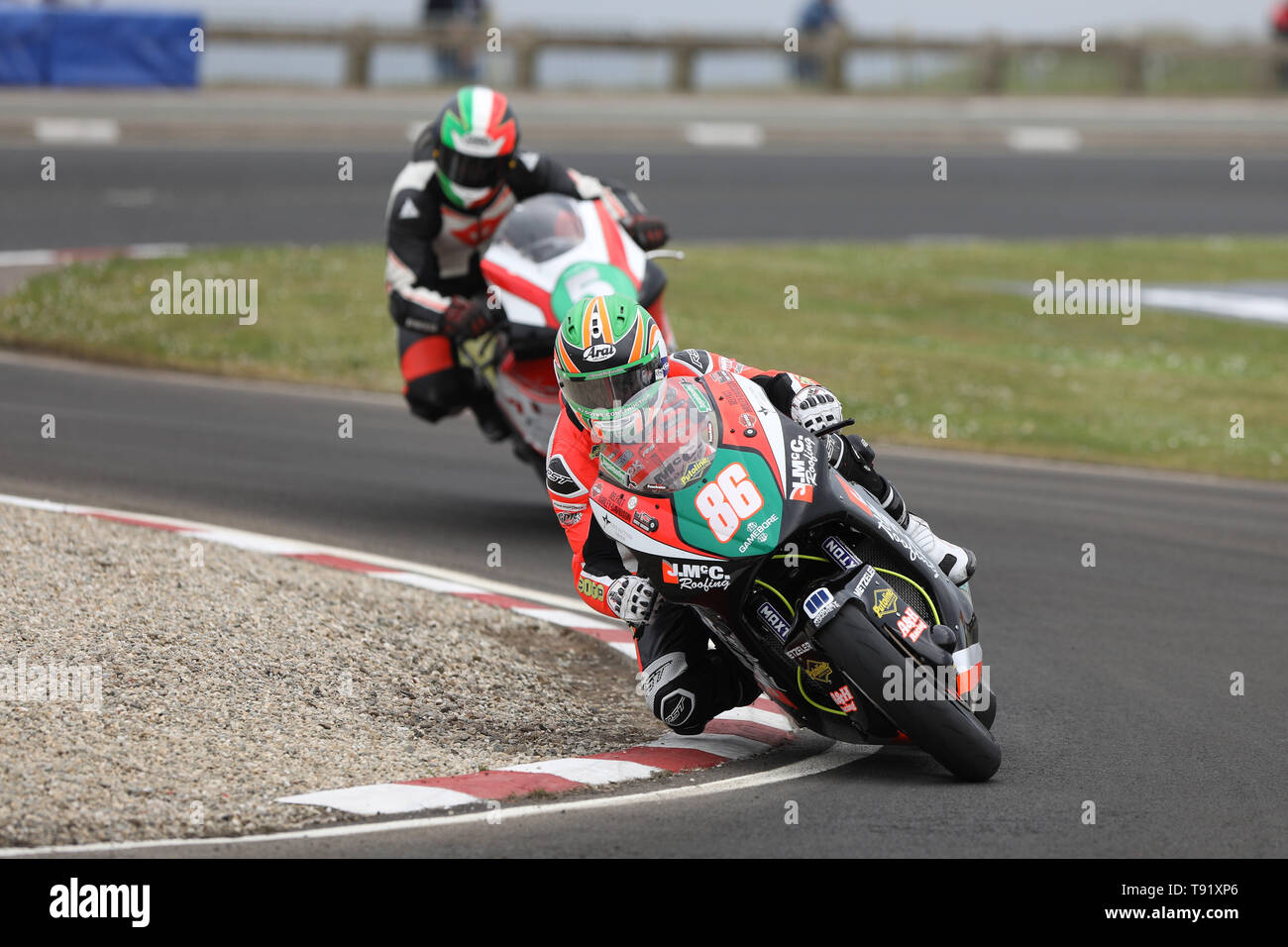 Portrush, Northern Ireland. 16th May, 2019. International North West 200 Motorcycle road racing, Thursday practice and evening racing; Derek McGee goes fastest on the KMR Kawasaki during the SuperTwins qualifying session Credit: Action Plus Sports/Alamy Live News - Stock Image