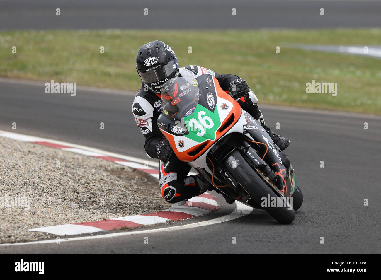 Portrush, Northern Ireland. 16th May, 2019. International North West 200 Motorcycle road racing, Thursday practice and evening racing; Jamie Coward on the KTS Racing Kawasaki during the SuperTwins qualifying session was 3rd quickest behind McGee and Irwin Credit: Action Plus Sports/Alamy Live News - Stock Image