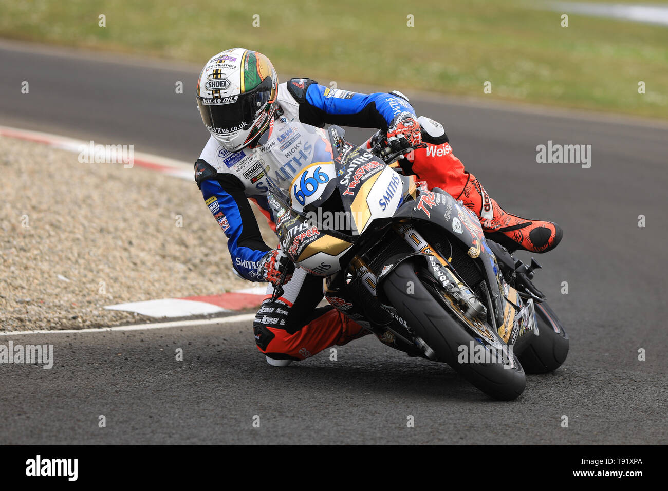 Portrush, Northern Ireland. 16th May, 2019. International North West 200 Motorcycle road racing, Thursday practice and evening racing; Peter Hickman on the Trooper Beer By Smiths Racing Triumph during the SuperSport qualifying session Credit: Action Plus Sports/Alamy Live News - Stock Image