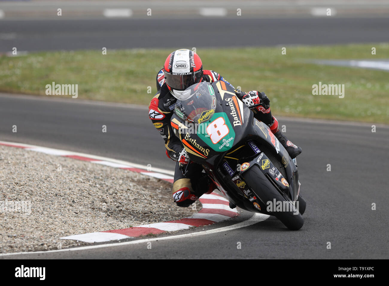 Portrush, Northern Ireland. 16th May, 2019. International North West 200 Motorcycle road racing, Thursday practice and evening racing; Michael Rutter on the Bathams Racing Kawasaki during the SuperTwins qualifying session Credit: Action Plus Sports/Alamy Live News - Stock Image