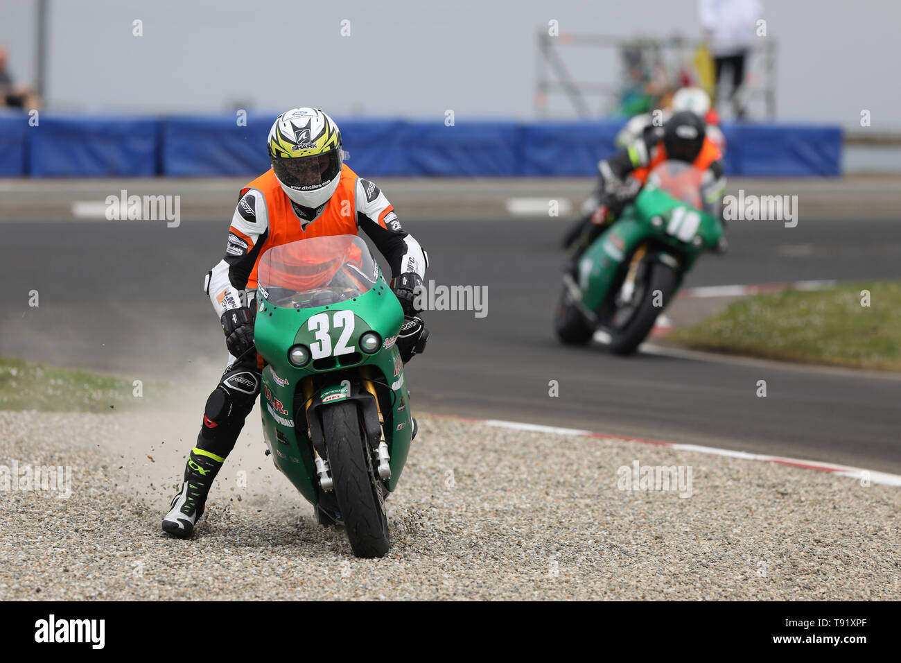 Portrush, Northern Ireland. 16th May, 2019. International North West 200 Motorcycle road racing, Thursday practice and evening racing; Carl Phillips (ILR/Mark Cloverdale Paton) in the gravel trap at Juniper chicane Credit: Action Plus Sports/Alamy Live News - Stock Image