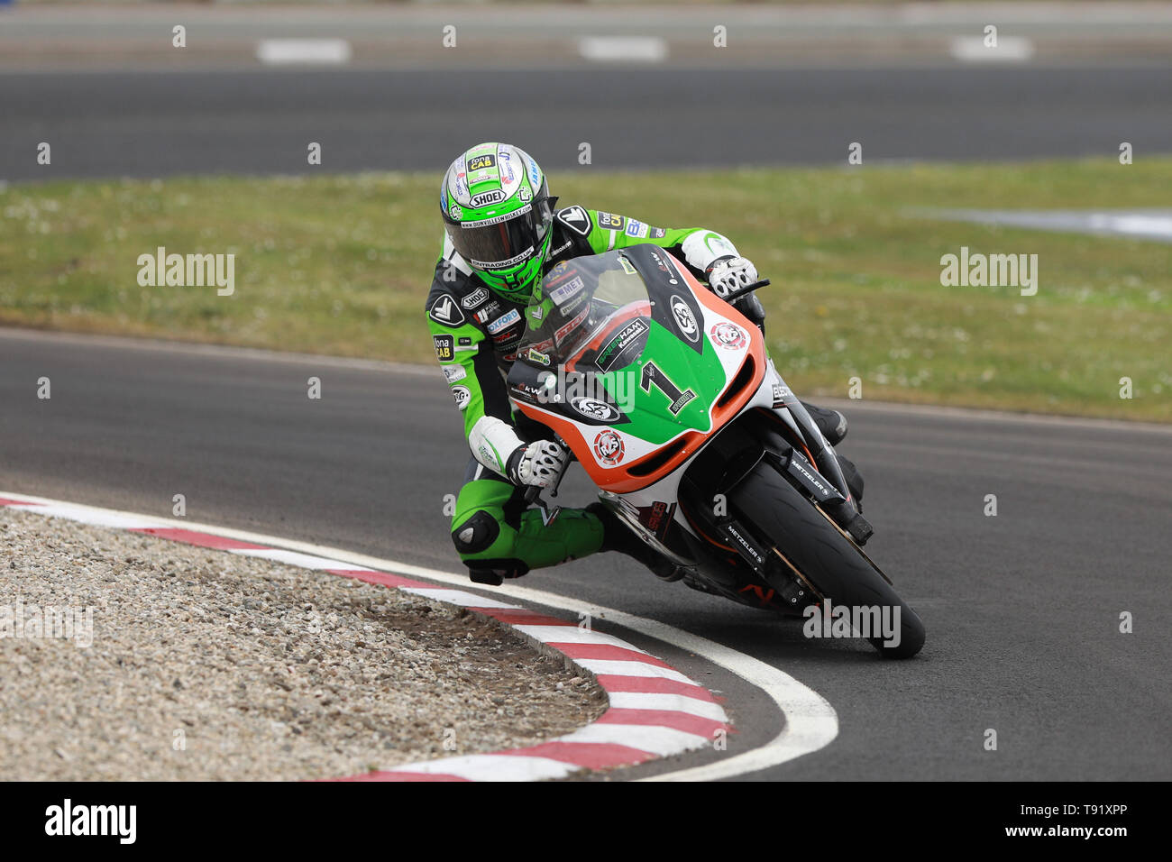 Portrush, Northern Ireland. 16th May, 2019. International North West 200 Motorcycle road racing, Thursday practice and evening racing; Glenn Irwin on the KTS Racing Kawasaki during the SuperTwins qualifying session Credit: Action Plus Sports/Alamy Live News - Stock Image