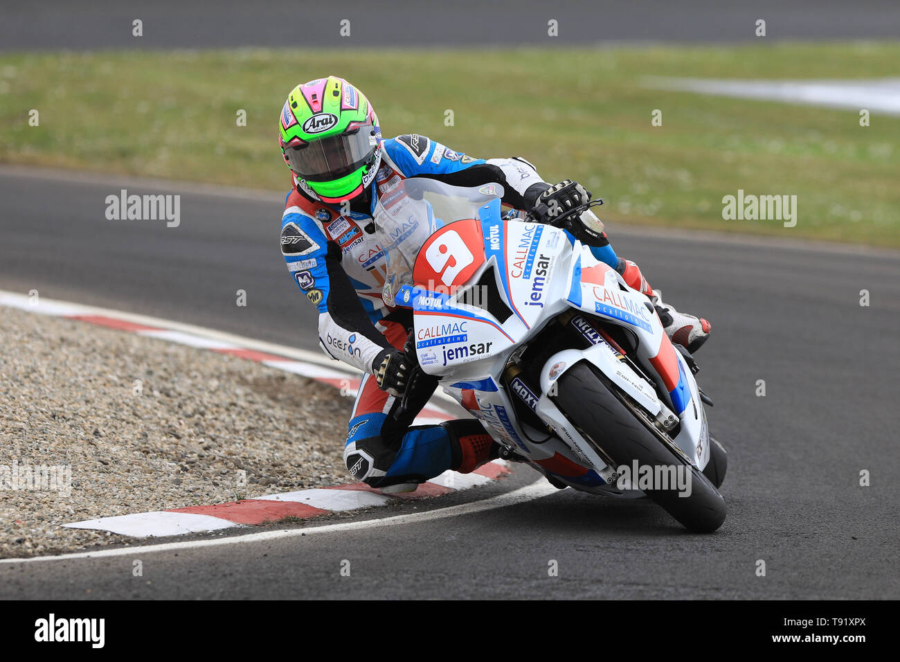 Portrush, Northern Ireland. 16th May, 2019. International North West 200 Motorcycle road racing, Thursday practice and evening racing; Craig Neve on the Callmac Scaffolding BMW during the SuperStock qualifying session before having an off at Magherabuoy Credit: Action Plus Sports/Alamy Live News - Stock Image
