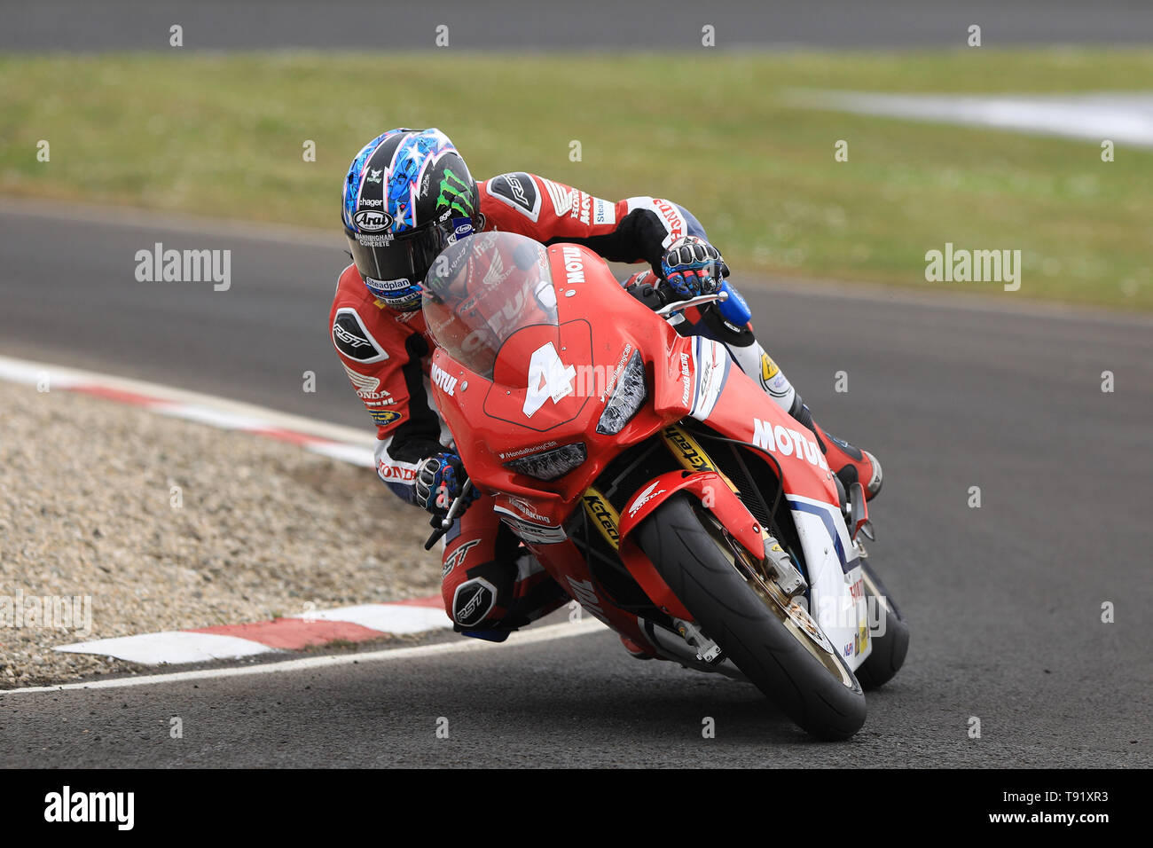 Portrush, Northern Ireland. 16th May, 2019. International North West 200 Motorcycle road racing, Thursday practice and evening racing; Ian Hutchinson on the Honda Racing Honda during the SuperStock qualifying session Credit: Action Plus Sports/Alamy Live News - Stock Image