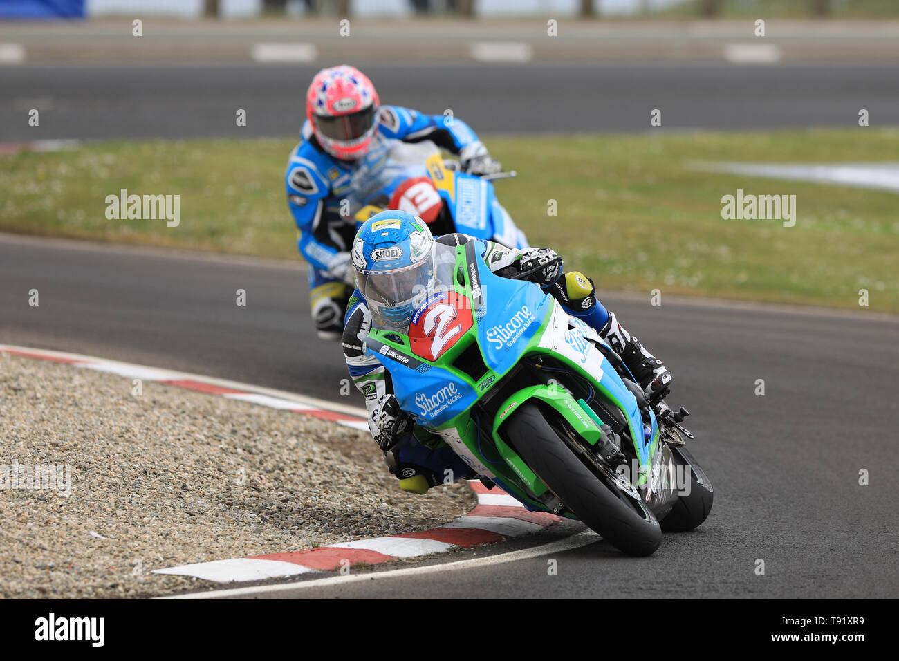 Portrush, Northern Ireland. 16th May, 2019. International North West 200 Motorcycle road racing, Thursday practice and evening racing; Dean Harrison went 6th fastest on the Silicone Engineering Racing Kawasaki during the SuperStock qualifying session Credit: Action Plus Sports/Alamy Live News - Stock Image