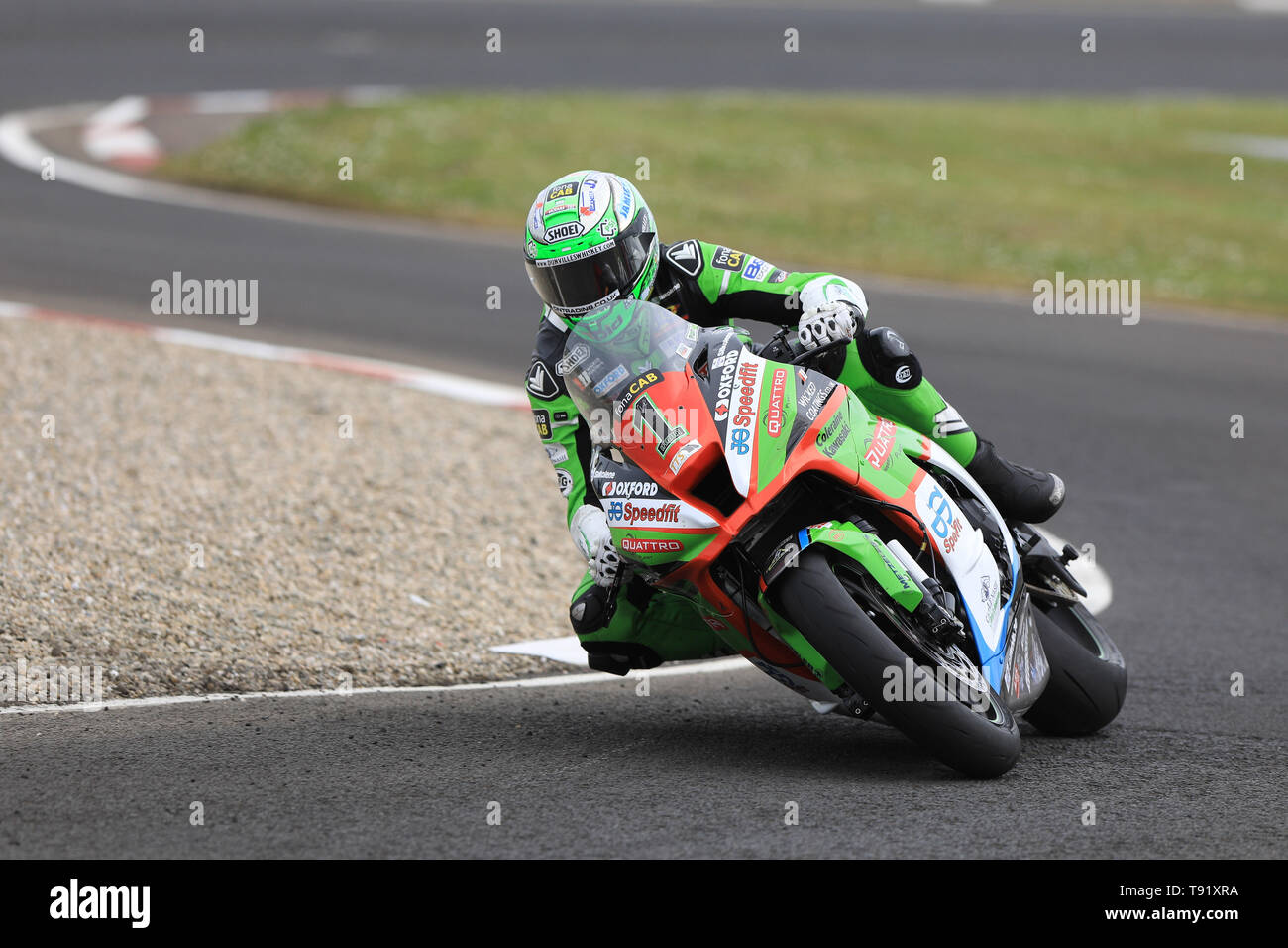 Portrush, Northern Ireland. 16th May, 2019. International North West 200 Motorcycle road racing, Thursday practice and evening racing; Glenn Irwin was 2nd fastest on the Quattro Plant Wicked Coatings Kawasaki during the SuperStock qualifying session Credit: Action Plus Sports/Alamy Live News - Stock Image
