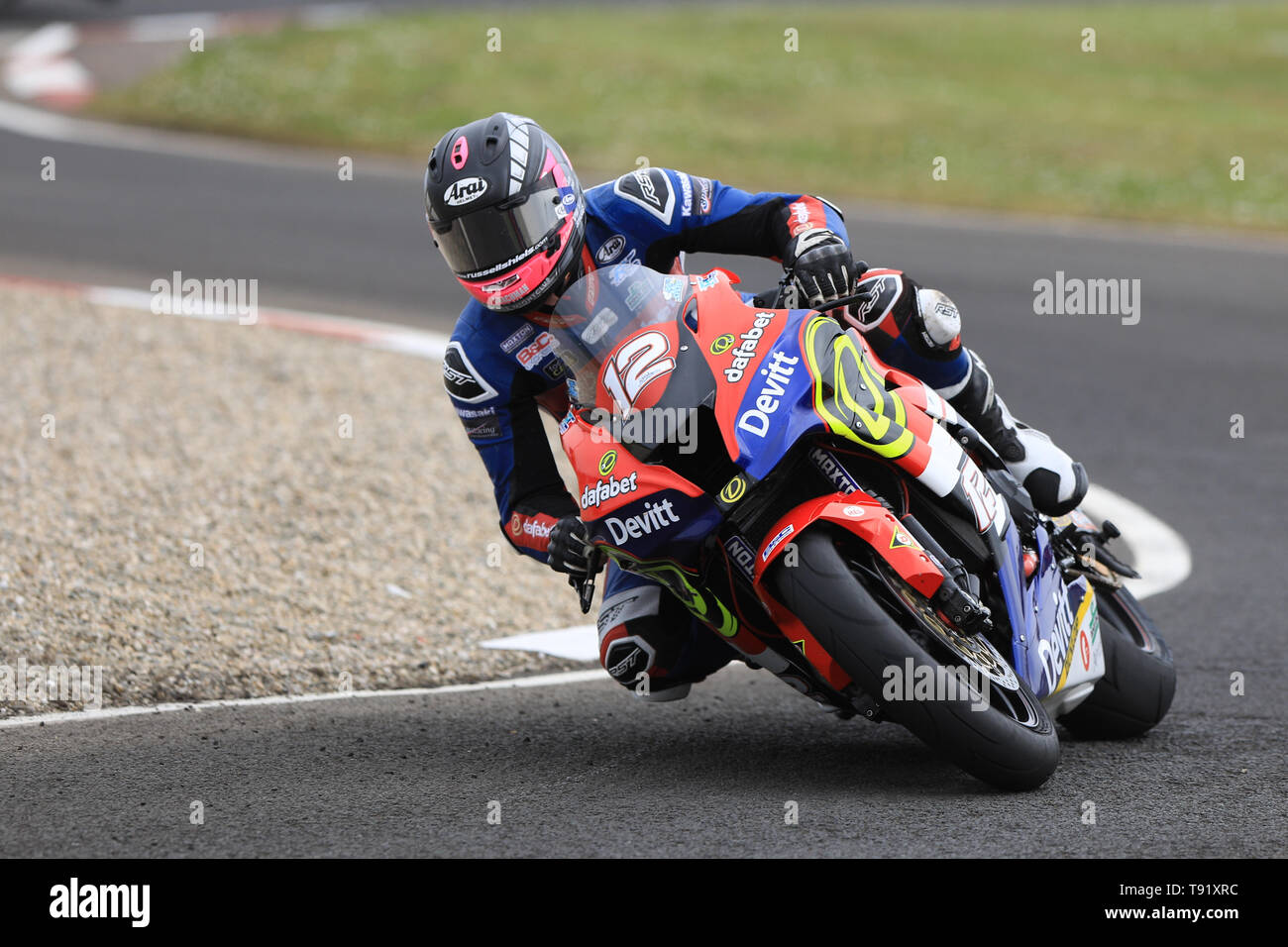 Portrush, Northern Ireland. 16th May, 2019. International North West 200 Motorcycle road racing, Thursday practice and evening racing; Paul Jordan on the RC Express Dafabet Devitt Racing Kawasaki during the SuperStock qualifying session Credit: Action Plus Sports/Alamy Live News - Stock Image
