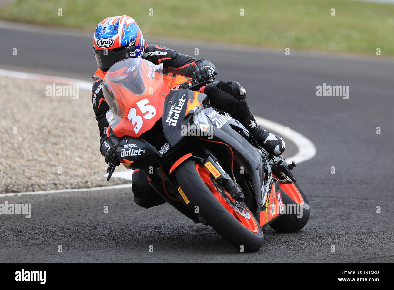 Portrush, Northern Ireland. 16th May, 2019. International North West 200 Motorcycle road racing, Thursday practice and evening racing; USA's Patricia Fernandez on the Patricia Fernandez Racing Magic Bullet Kawasaki during the SuperStock qualifying session Credit: Action Plus Sports/Alamy Live News - Stock Image