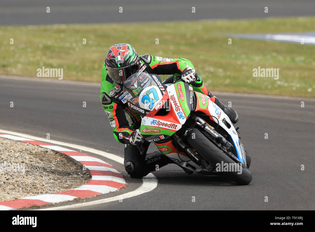 Portrush, Northern Ireland. 16th May, 2019. International North West 200 Motorcycle road racing, Thursday practice and evening racing; James Hillier was 3rd fastest on the Quattro Plant Wicked Coatings Kawasaki during the SuperStock qualifying session Credit: Action Plus Sports/Alamy Live News - Stock Image