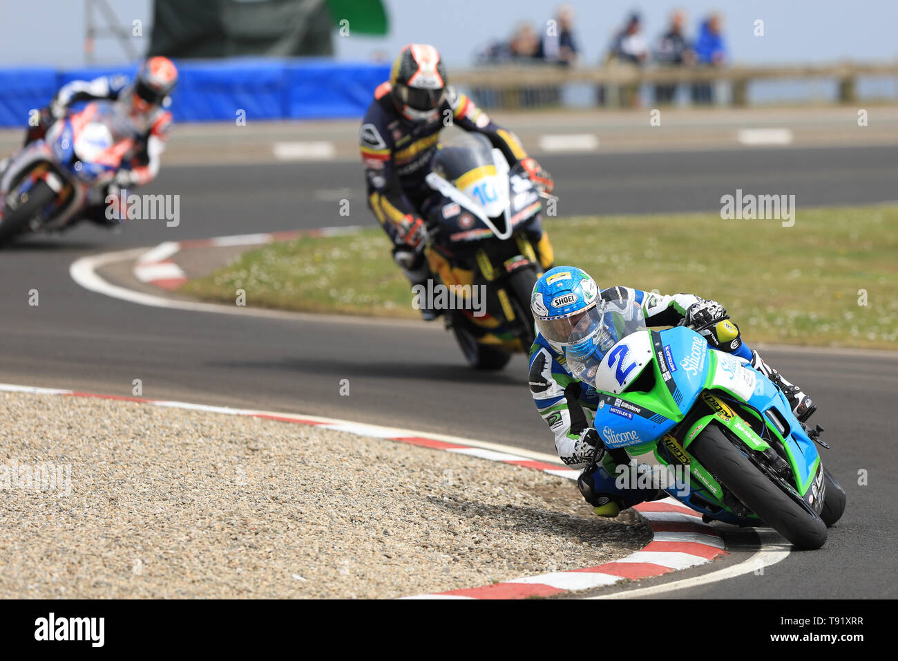 Portrush, Northern Ireland. 16th May, 2019. International North West 200 Motorcycle road racing, Thursday practice and evening racing; Dean Harrison was 2nd fastest on the Silicone Engineering Racing Kawasaki during the SuperSport qualifying session Credit: Action Plus Sports/Alamy Live News - Stock Image