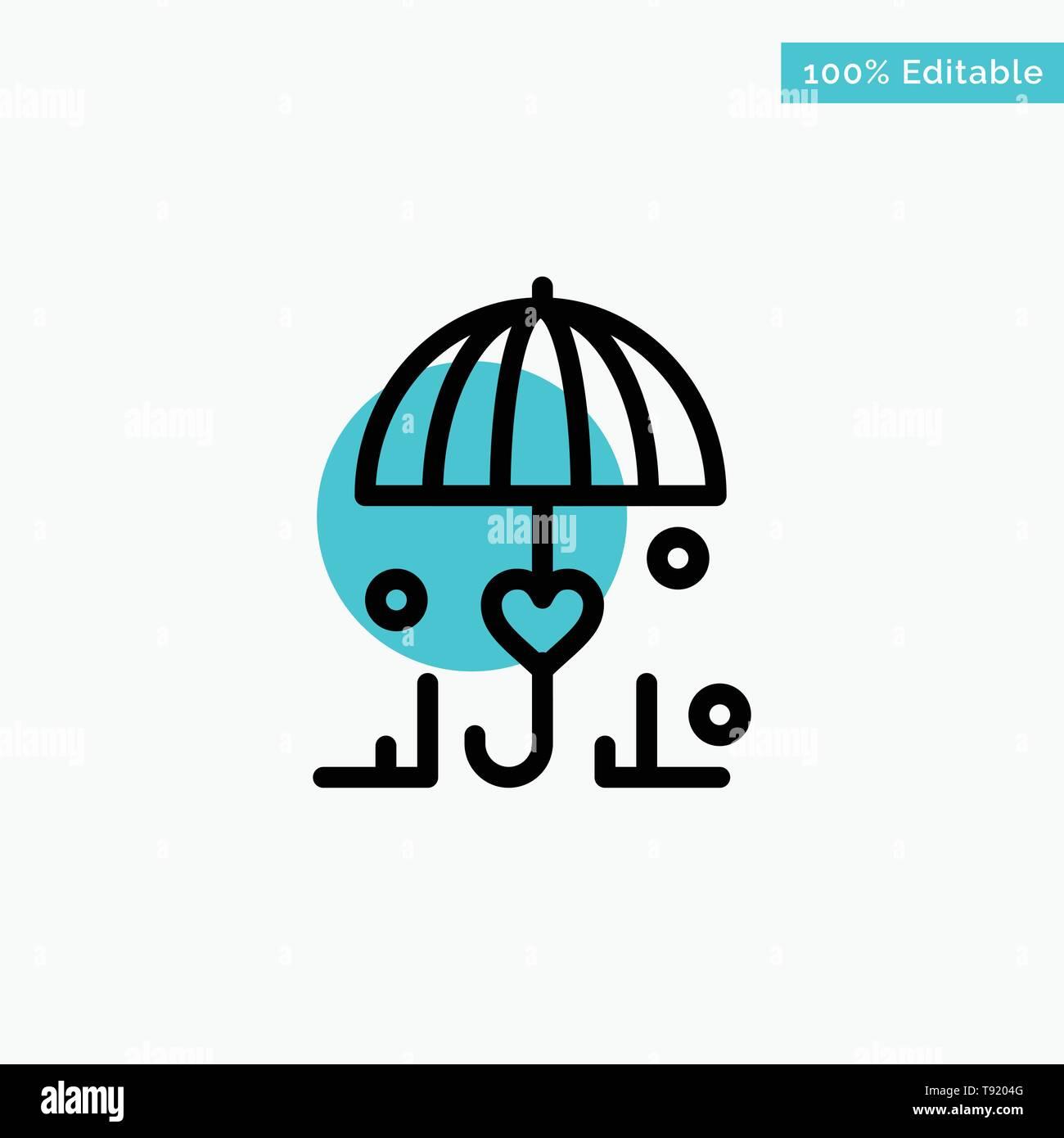 ab7b031485eba Insurance, Umbrella, Secure, Love turquoise highlight circle point Vector  icon