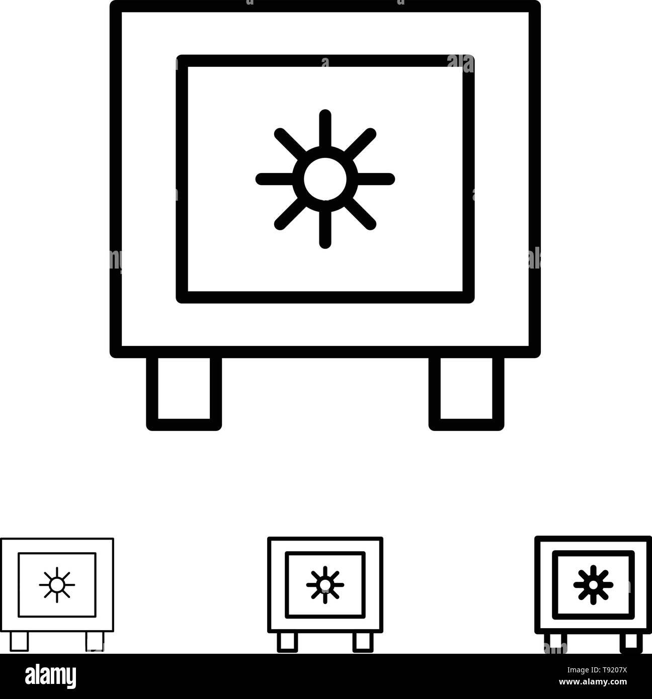 Locker, Lock, Global, Logistic Bold and thin black line icon set - Stock Image