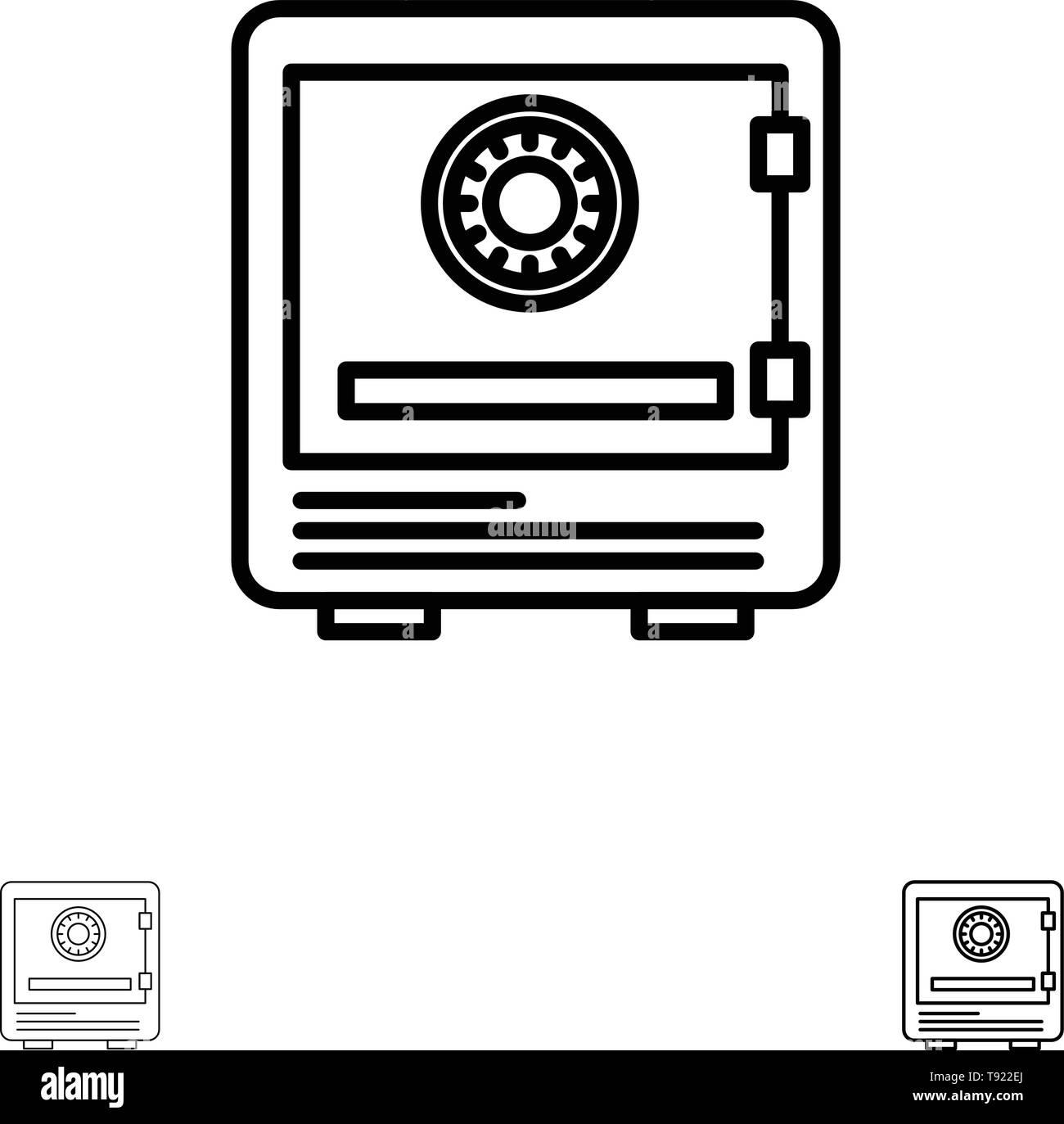 Safe, Bank, Deposit, Lock, Money, Safety, Security Bold and thin black line icon set - Stock Image
