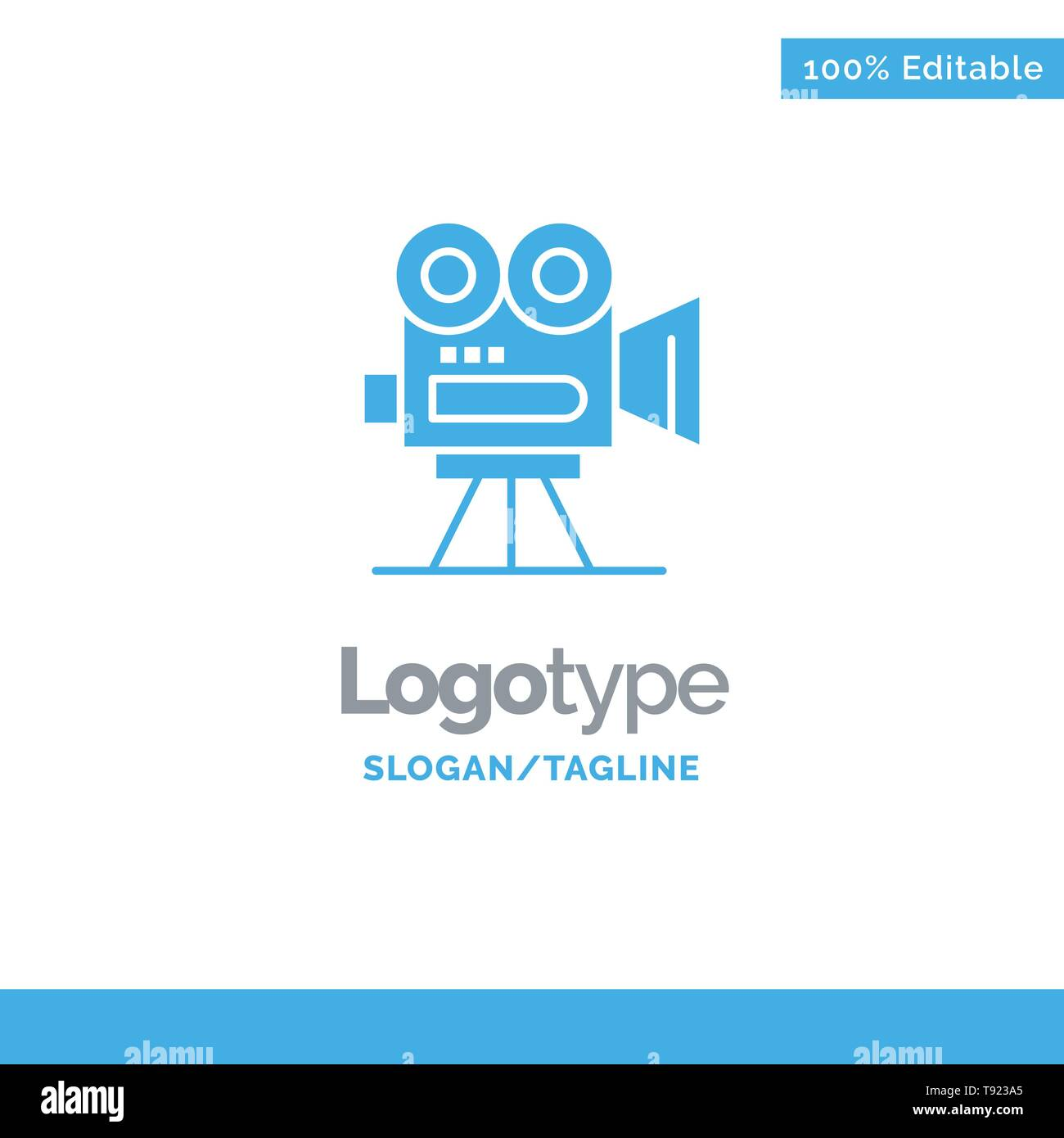 Camera, Capture, Film, Movie, Professional Blue Solid Logo Template. Place for Tagline - Stock Vector