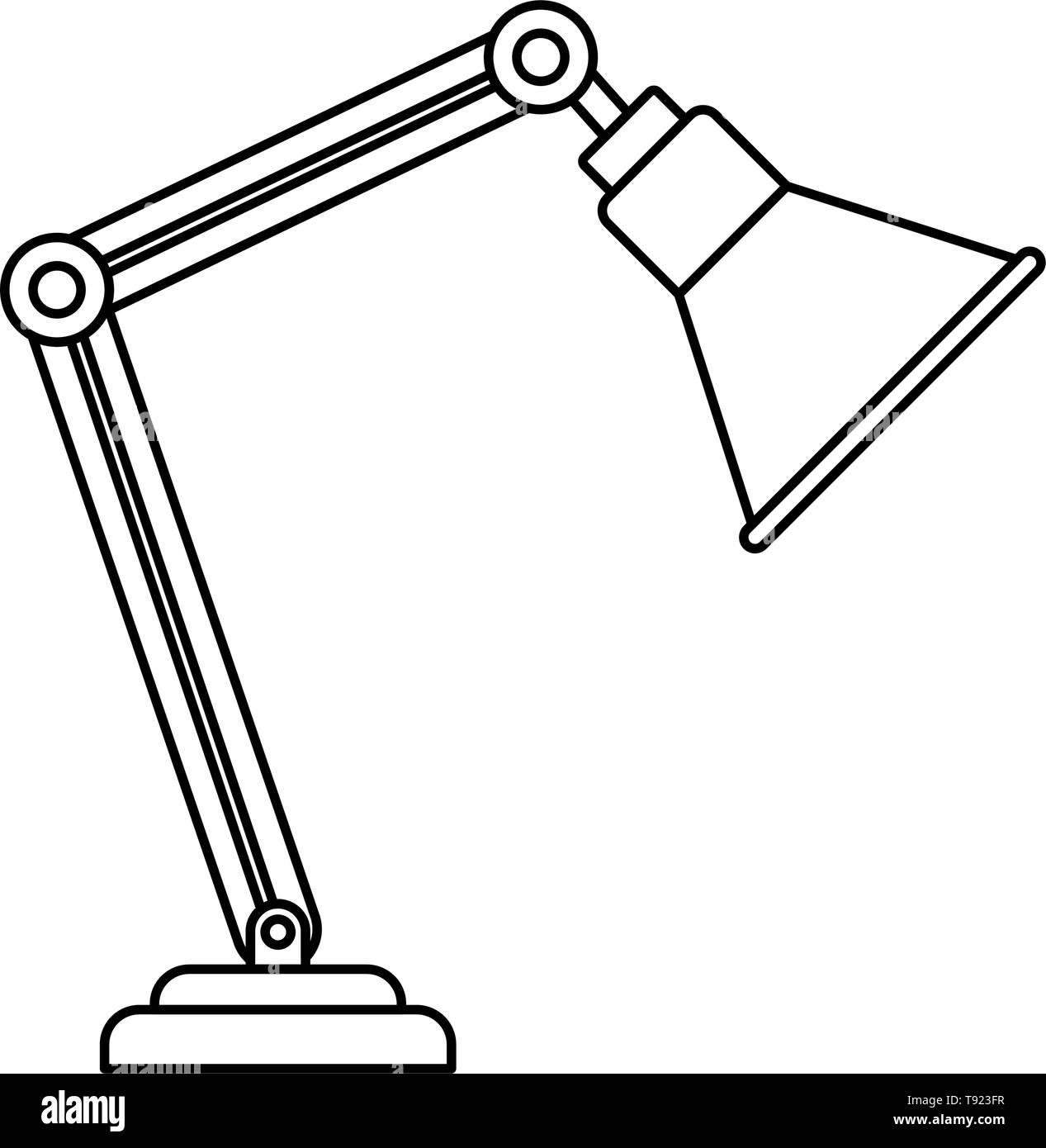 silhouette of office lamp on white background - Stock Image