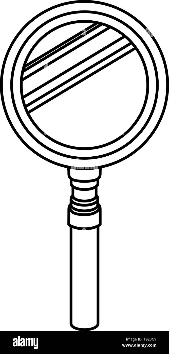 silhouette of magnifying glass with white background - Stock Vector