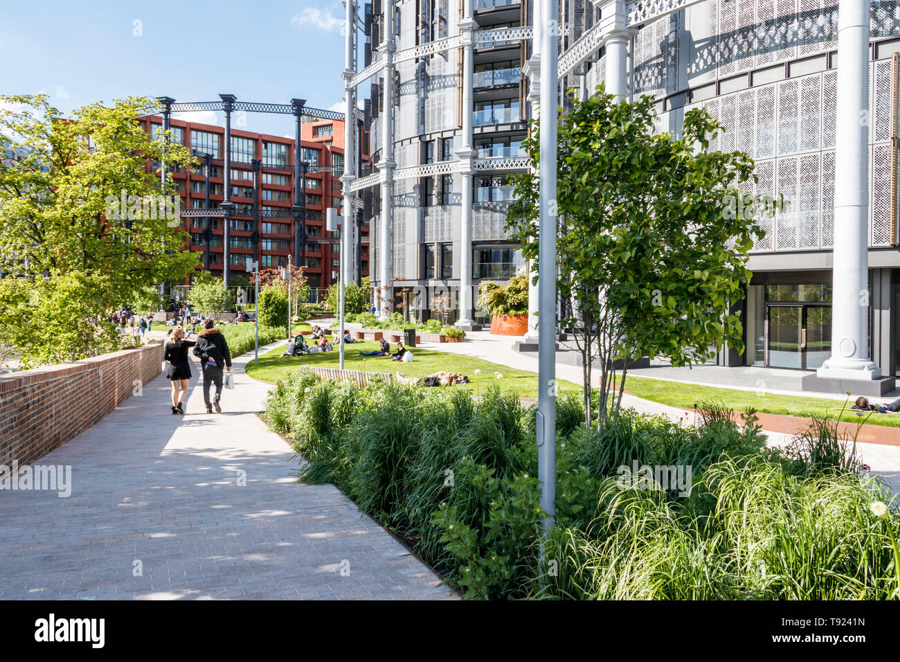 Bagley Walk by the Regent's Canal towpath at the newly redeveloped King's Cross, London, UK, 2019 - Stock Image