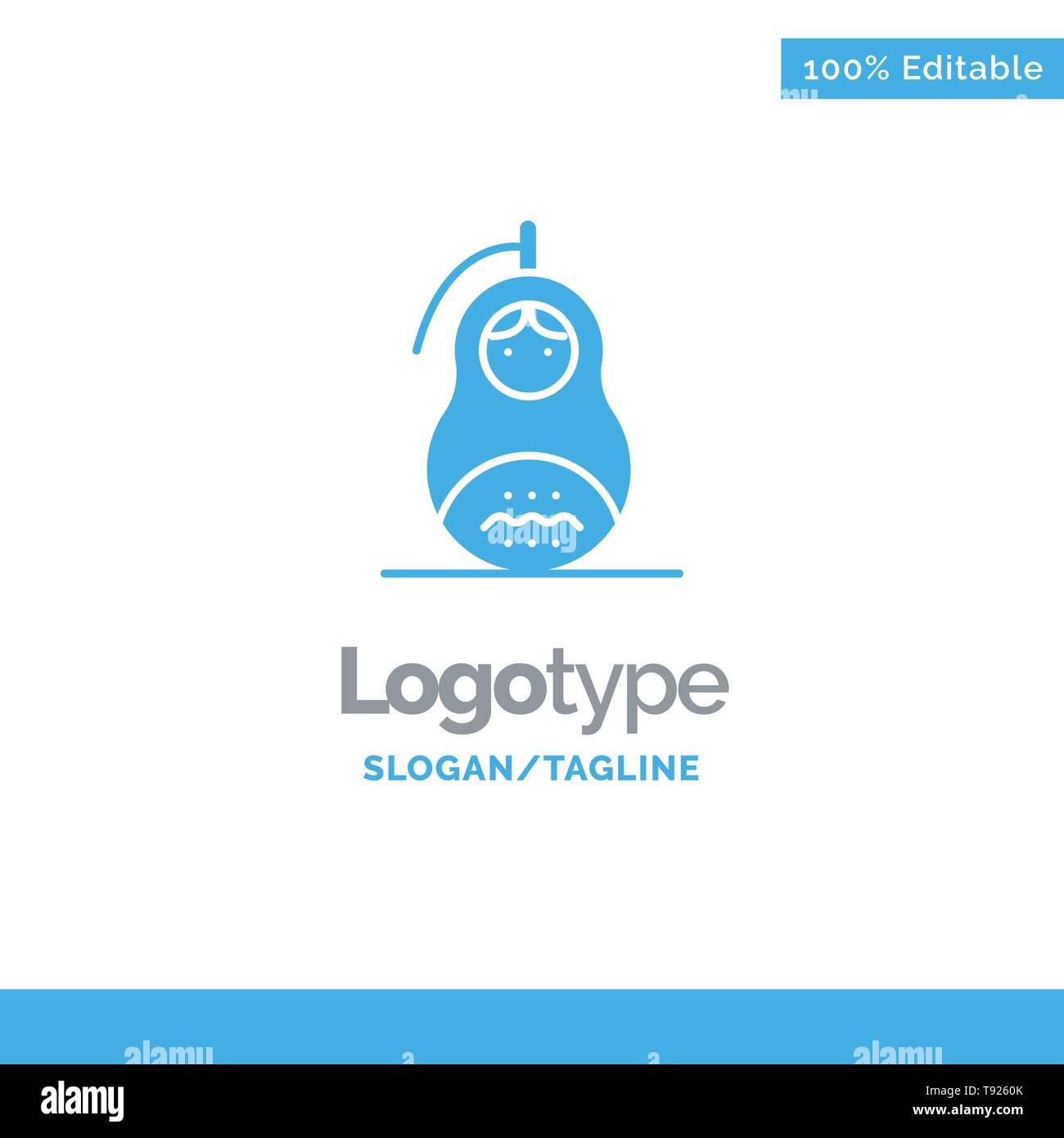 Fraud, Grenade, Matrioshka, Peace, Russia Blue Solid Logo Template. Place for Tagline - Stock Vector