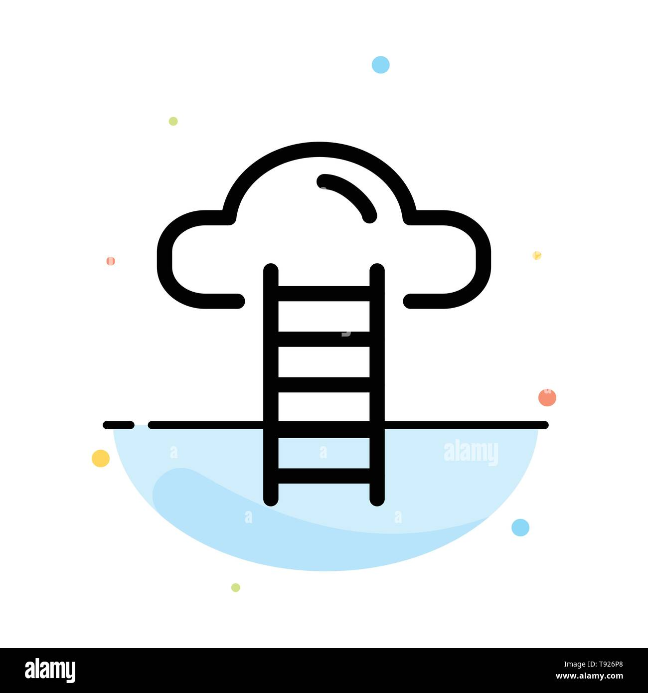 Stair, Cloud, User, Interface Abstract Flat Color Icon Template