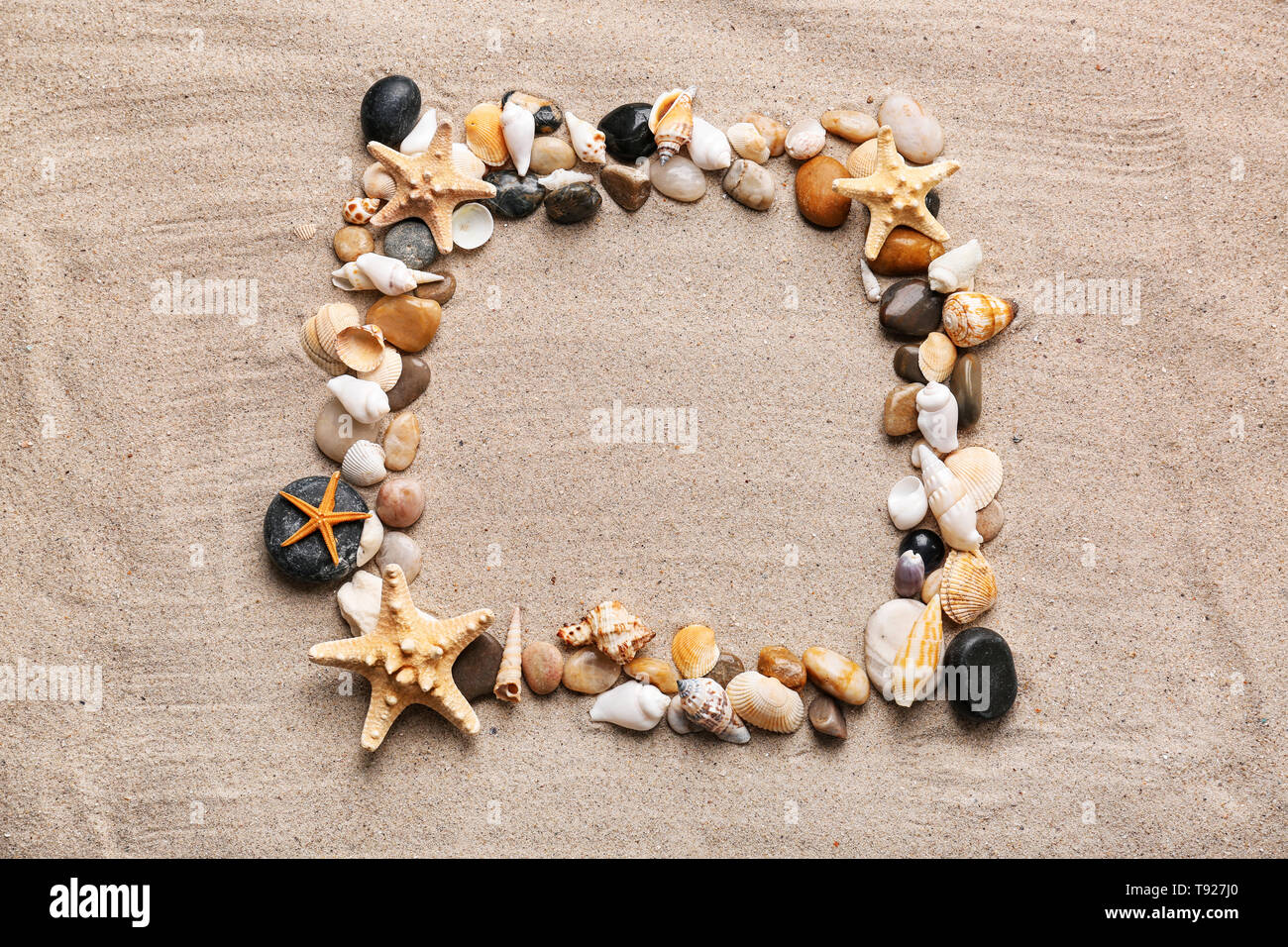 Frame made of different sea shells and starfishes with stones on sand - Stock Image