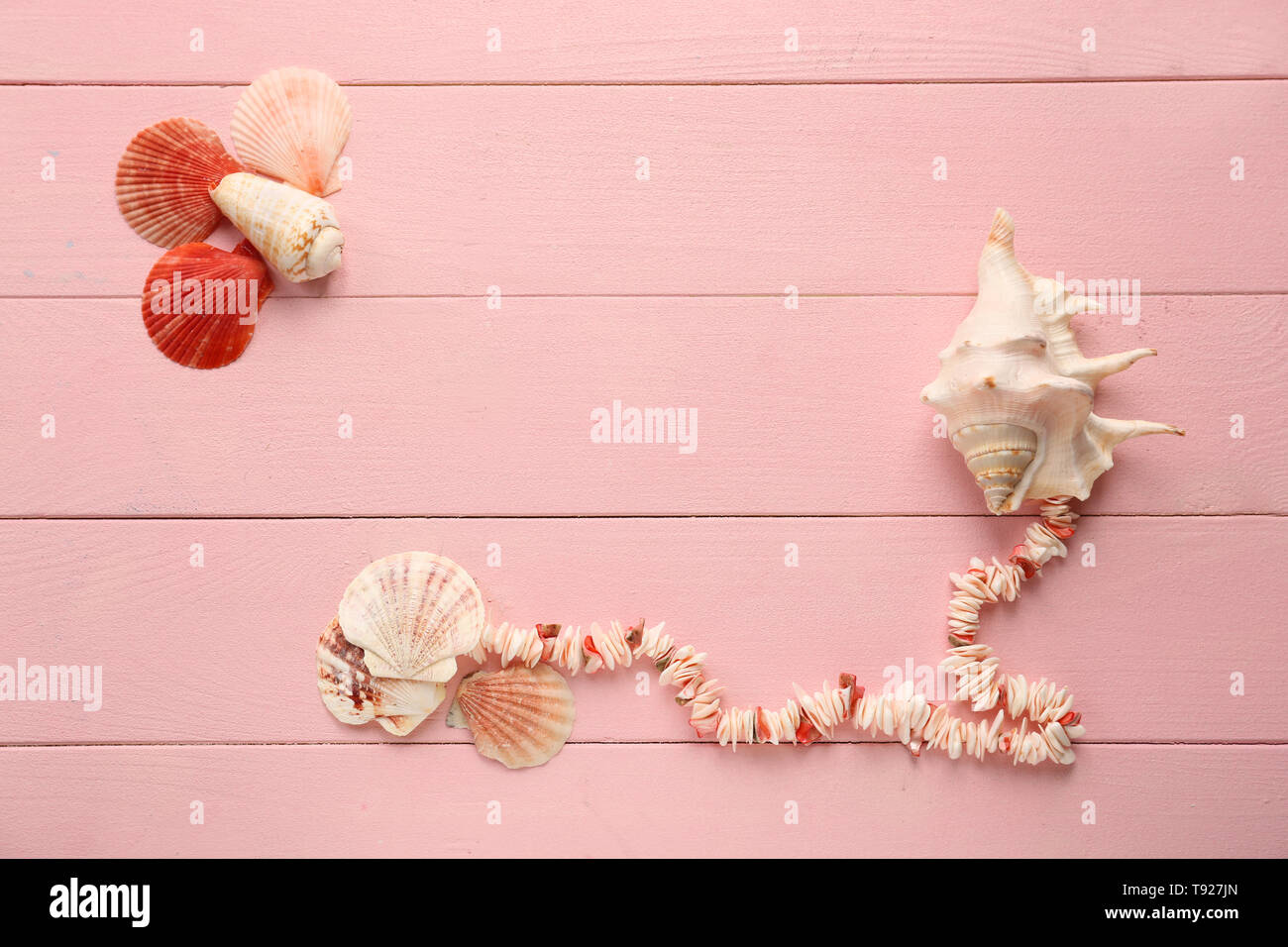 Different sea shells with necklace on color wooden background - Stock Image