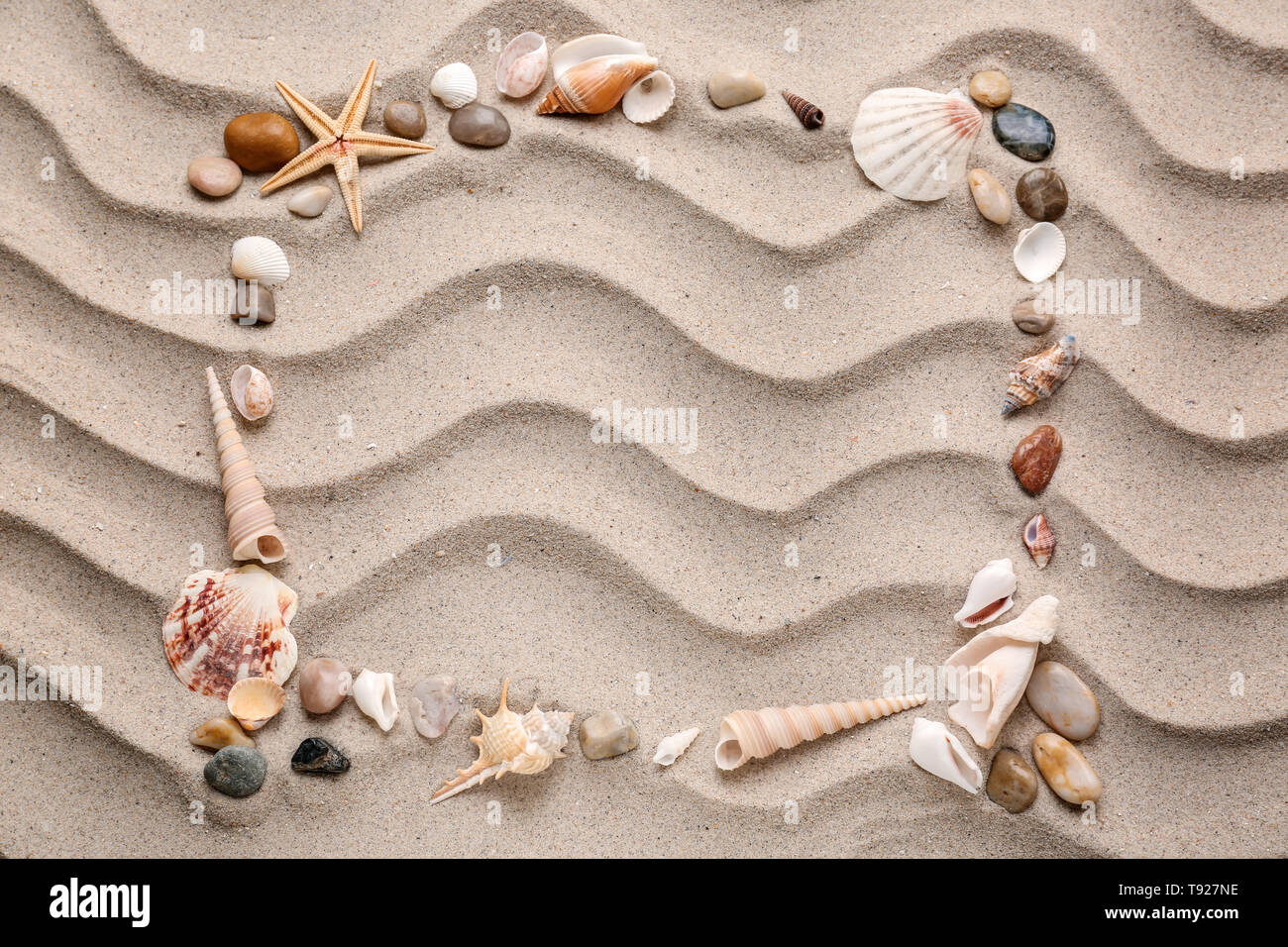 Frame made of different sea shells and stones on sand - Stock Image
