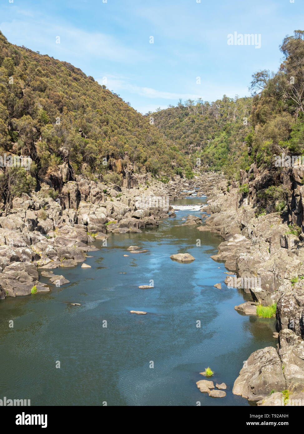 Cataract Gorge, in the lower section of the South Esk River in Launceston, Tasmania, is one of the region's premier tourist attractions. Stock Photo