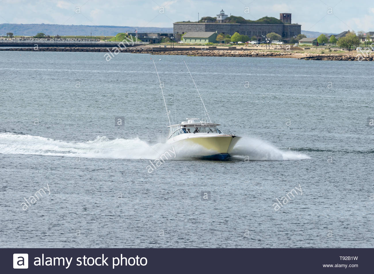 New Bedford, Massachusetts, USA - May 15, 2019: Powerboat
