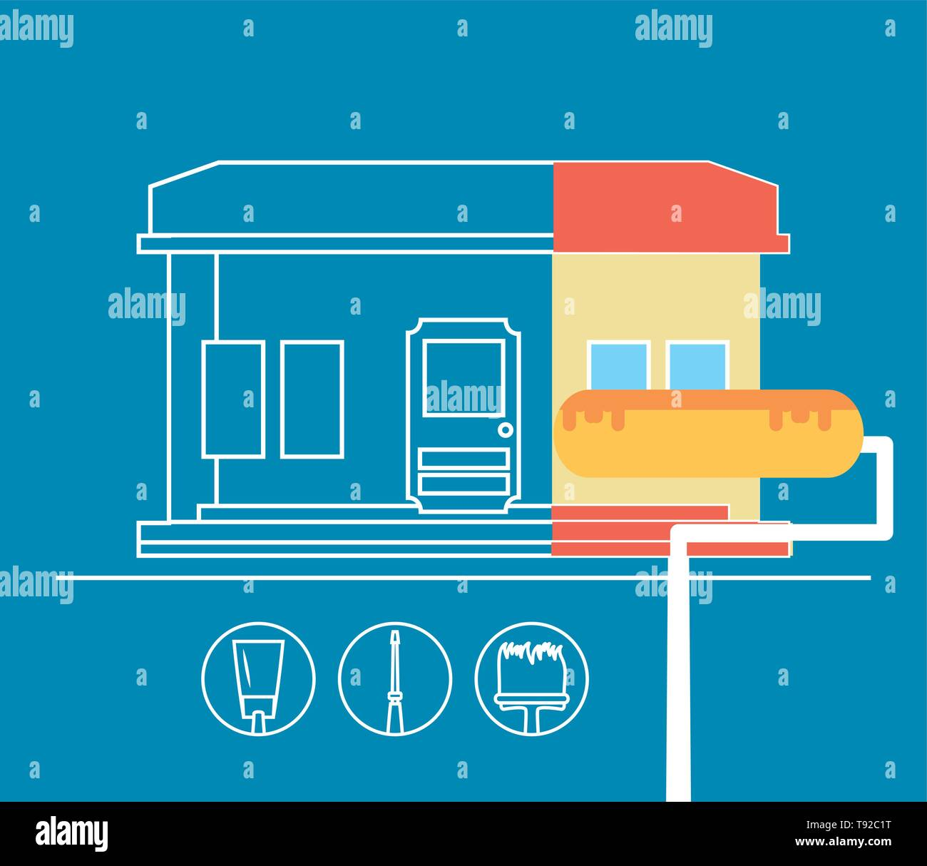 facade of house under construction with set tools vector illustration design Stock Vector