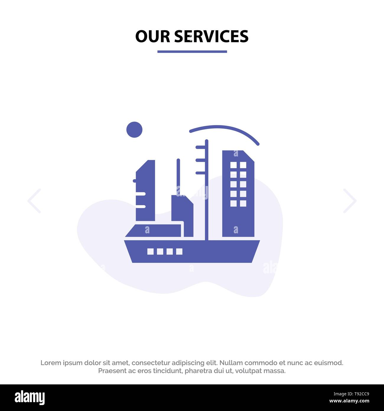 Our Services City, Colonization, Colony, Dome, Expansion Solid Glyph Icon Web card Template Stock Vector