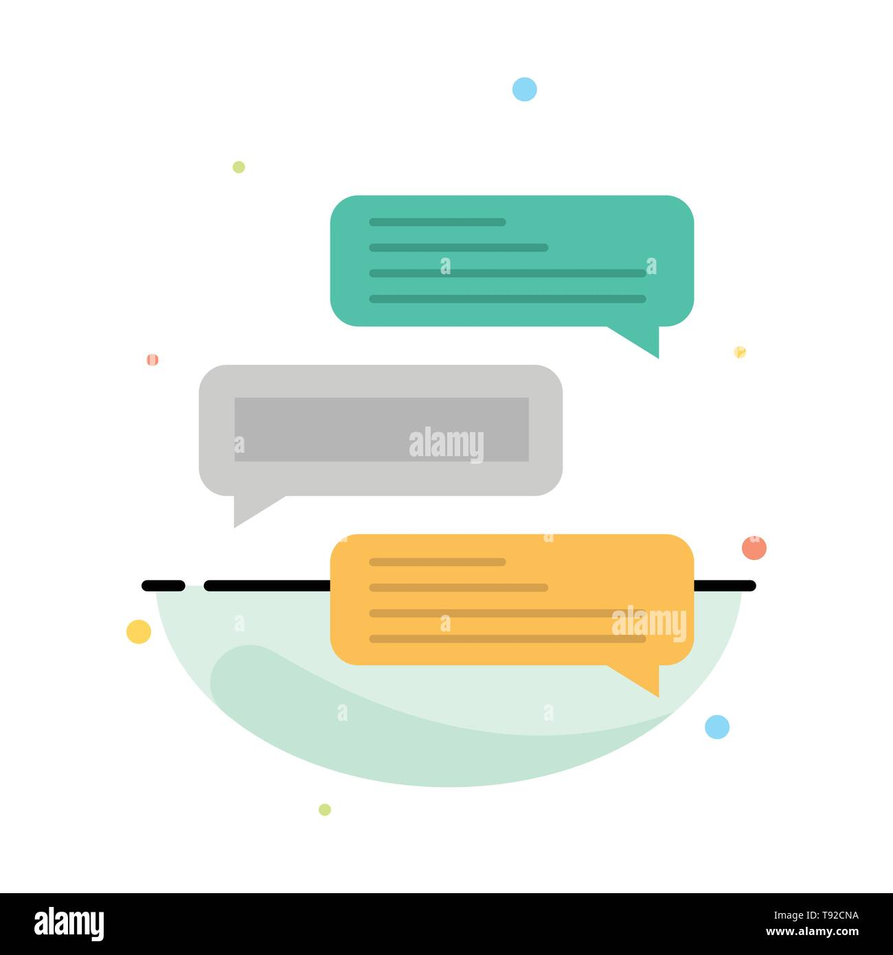Chat, Bubbles, Comments, Conversations, Talks Abstract Flat Color Icon Template - Stock Vector