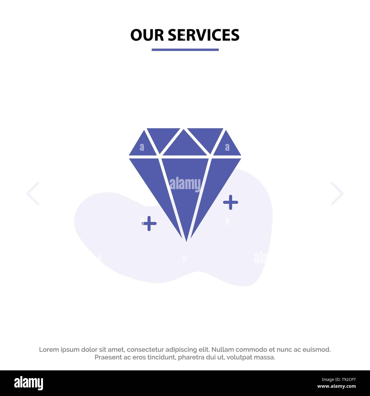 Our Services Diamond, Ecommerce, Jewelry, Jewel Solid Glyph Icon Web card Template - Stock Image