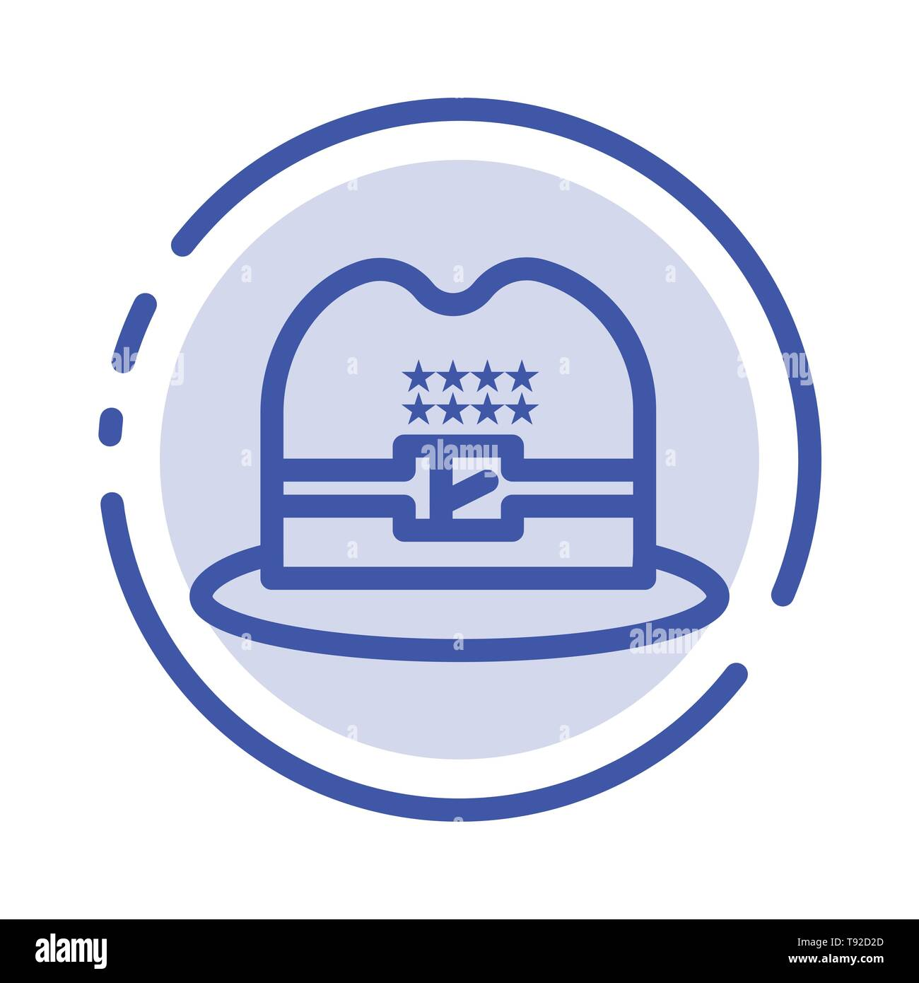Hat, Cap, American Blue Dotted Line Line Icon - Stock Image