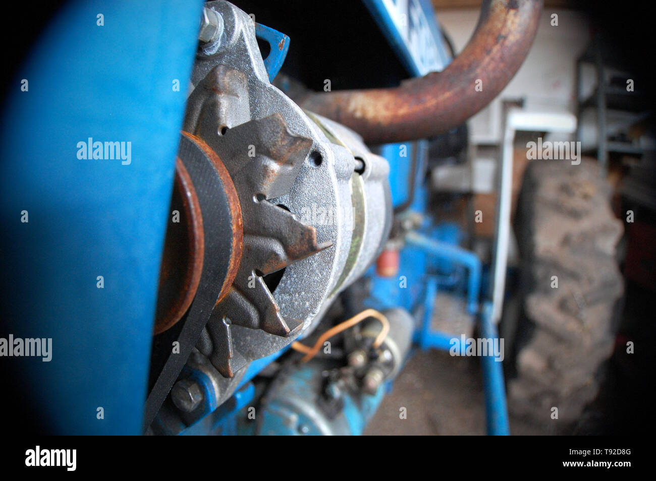 Extreme close-up shot of the gearshift on a tractor Stock