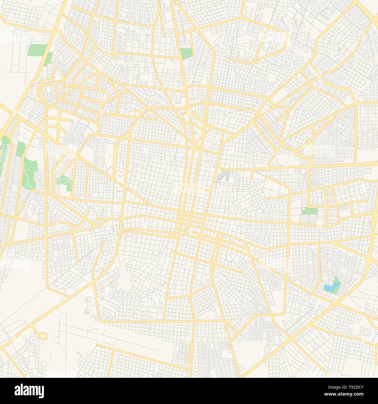 Empty vector map of Mérida, Yucatán, Mexico, printable road map created in classic web colors for infographic backgrounds. Stock Vector