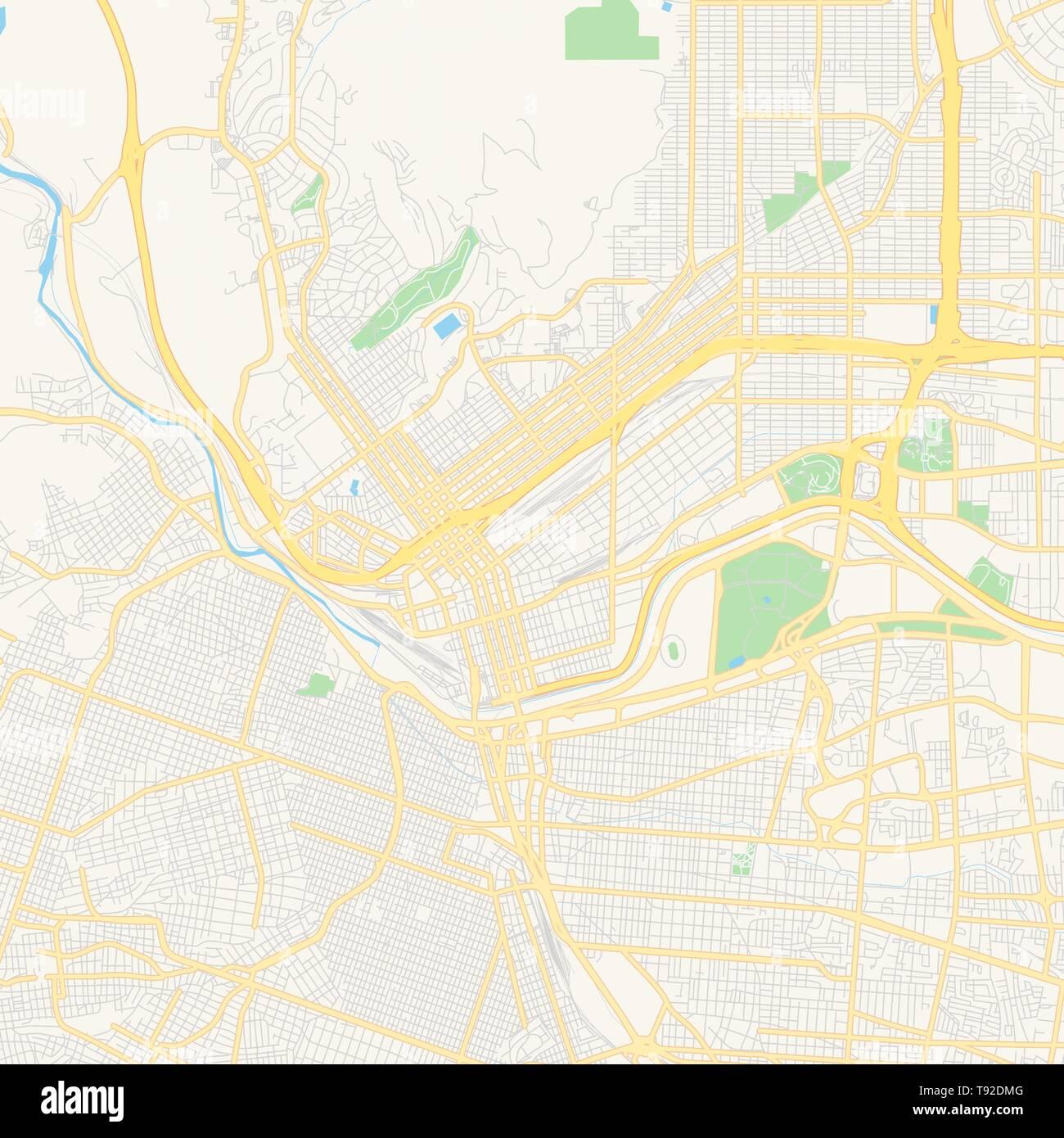 Empty vector map of El Paso, Texas, USA, printable road map ...