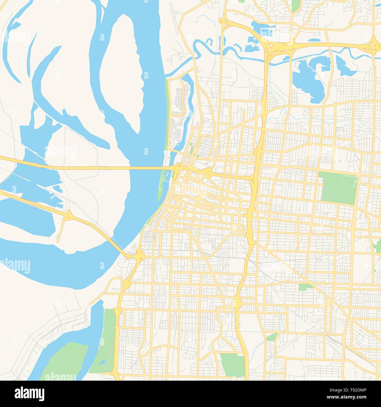 Empty vector map of Memphis, Tennessee, USA, printable road map ...