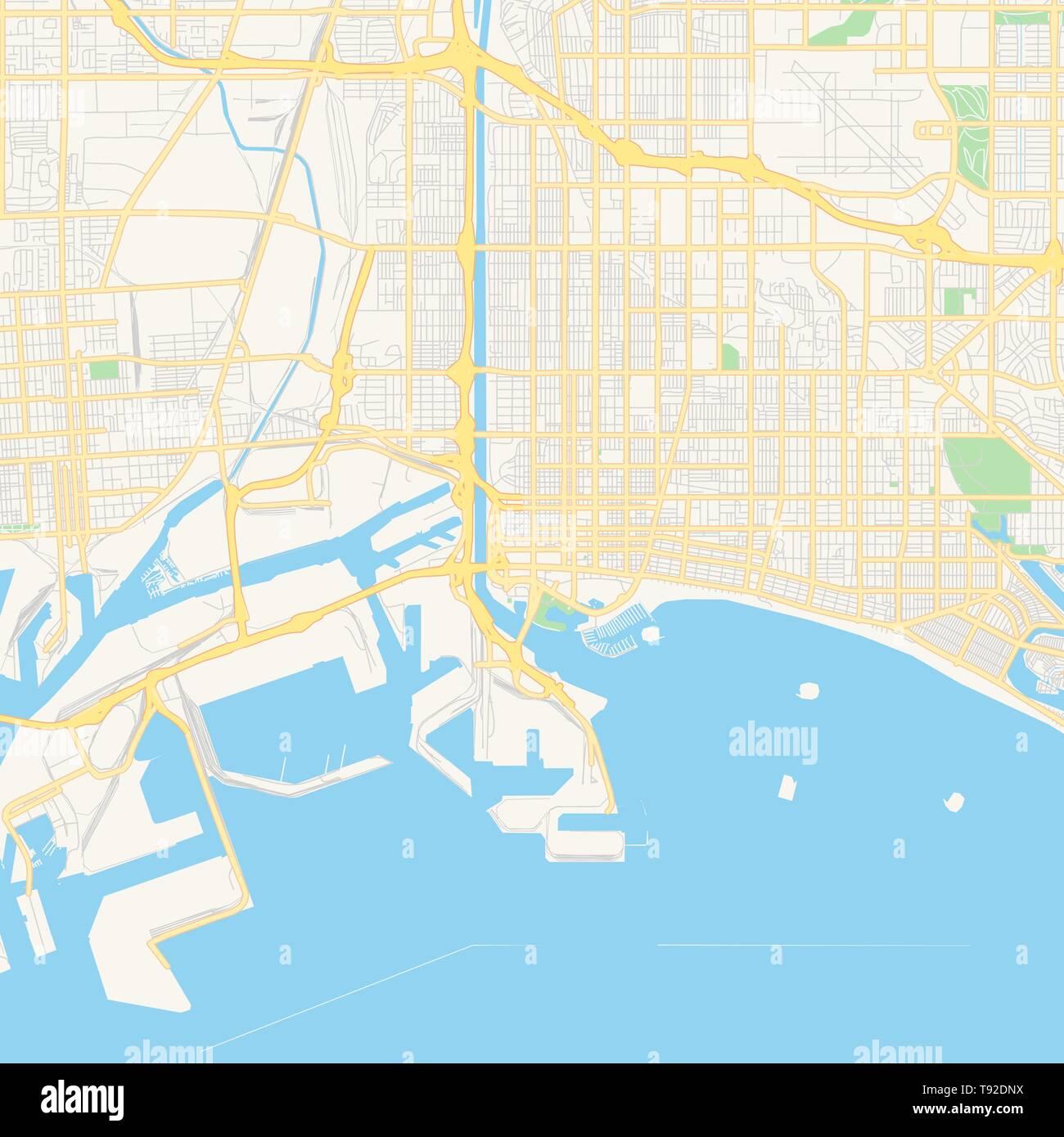 Empty vector map of Long Beach, California, USA, printable ...