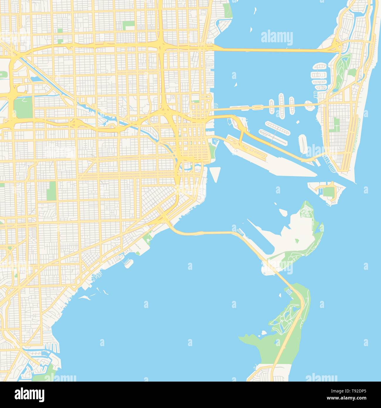 Empty vector map of Miami, Florida, USA, printable road map created ...