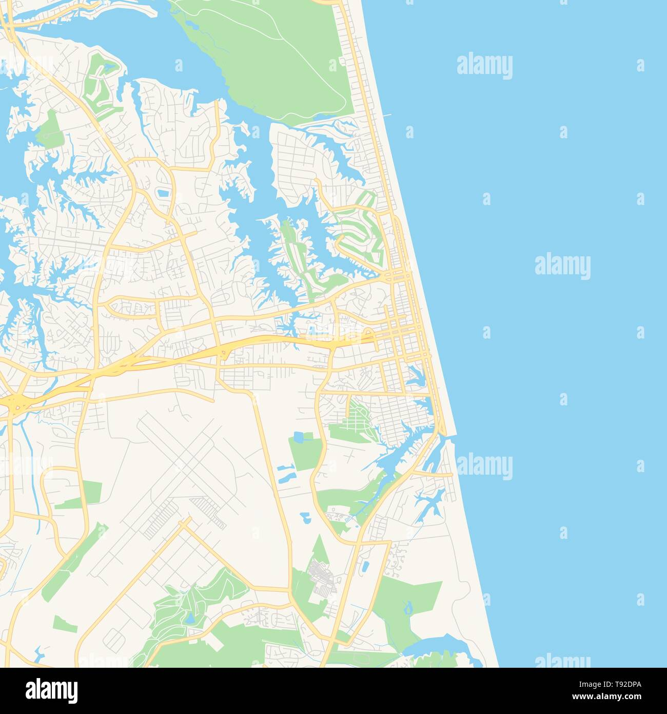Empty vector map of Virginia Beach, Virginia, USA, printable road ...