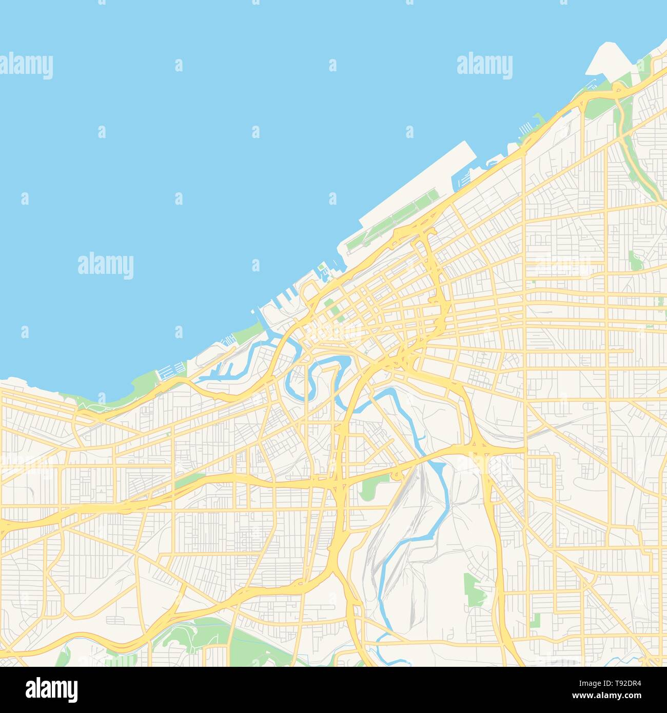 Empty vector map of Cleveland, Ohio, USA, printable road map created on
