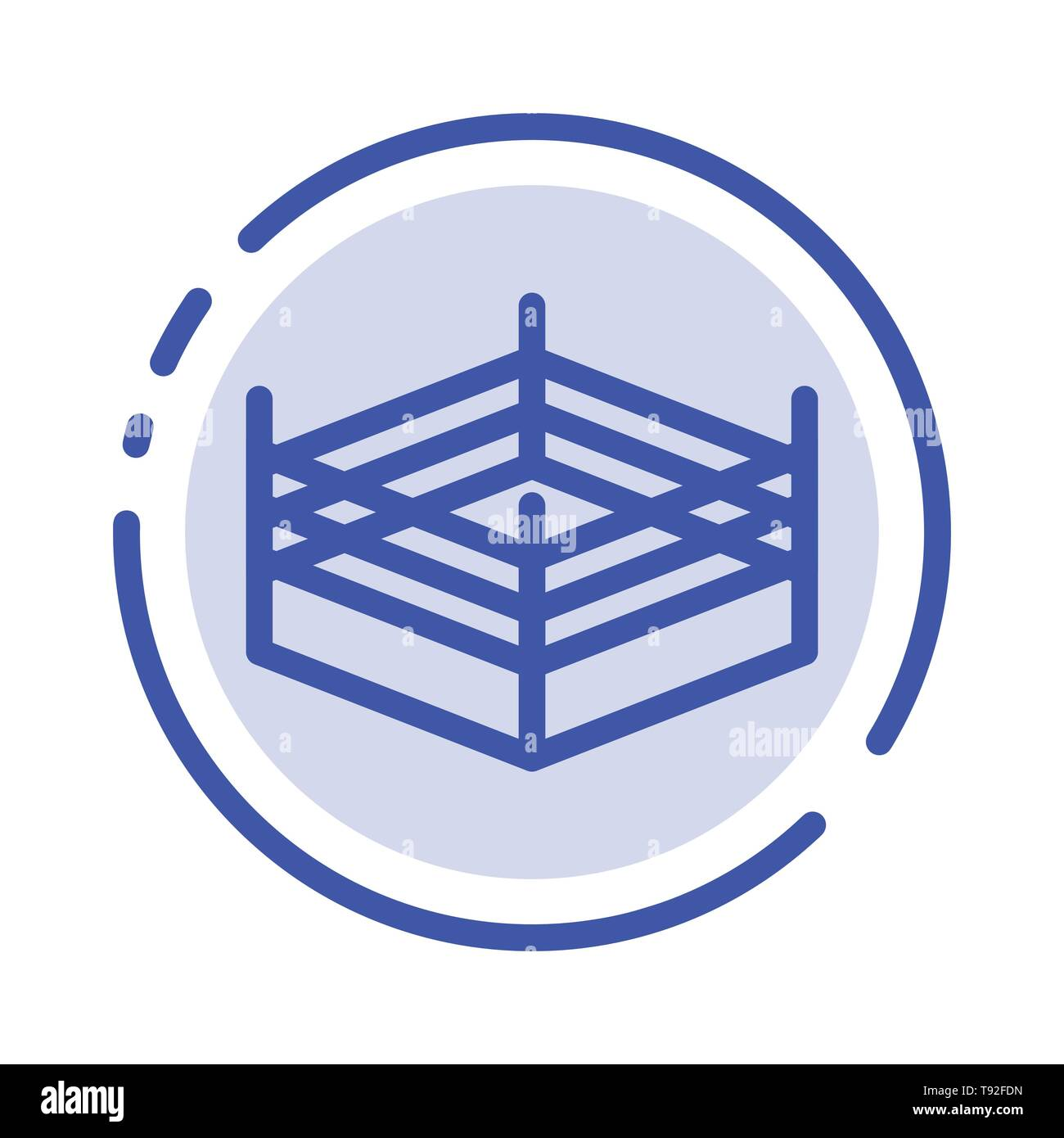 Boxing, Ring, Wrestling Blue Dotted Line Line Icon - Stock Image