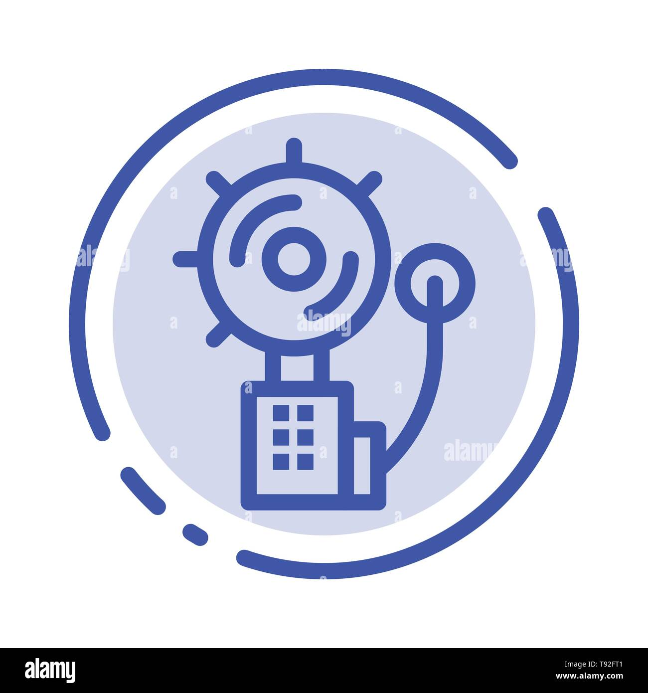 Alarm, Alert, Bell, Fire, Intruder Blue Dotted Line Line Icon - Stock Image