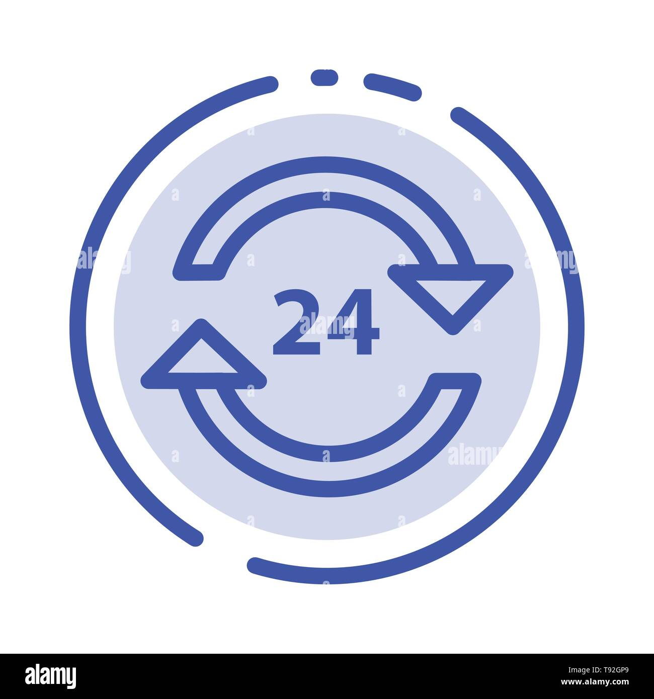 Concierge, Hotel, None, Round The Clock, Service, Stop Blue Dotted Line Line Icon - Stock Image