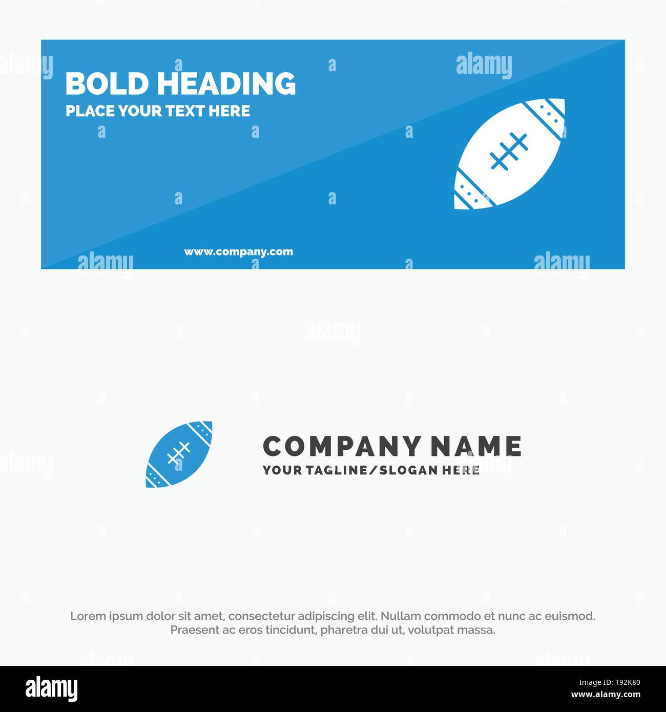 American, Ball, Football, Nfl, Rugby SOlid Icon Website Banner and Business Logo Template - Stock Image